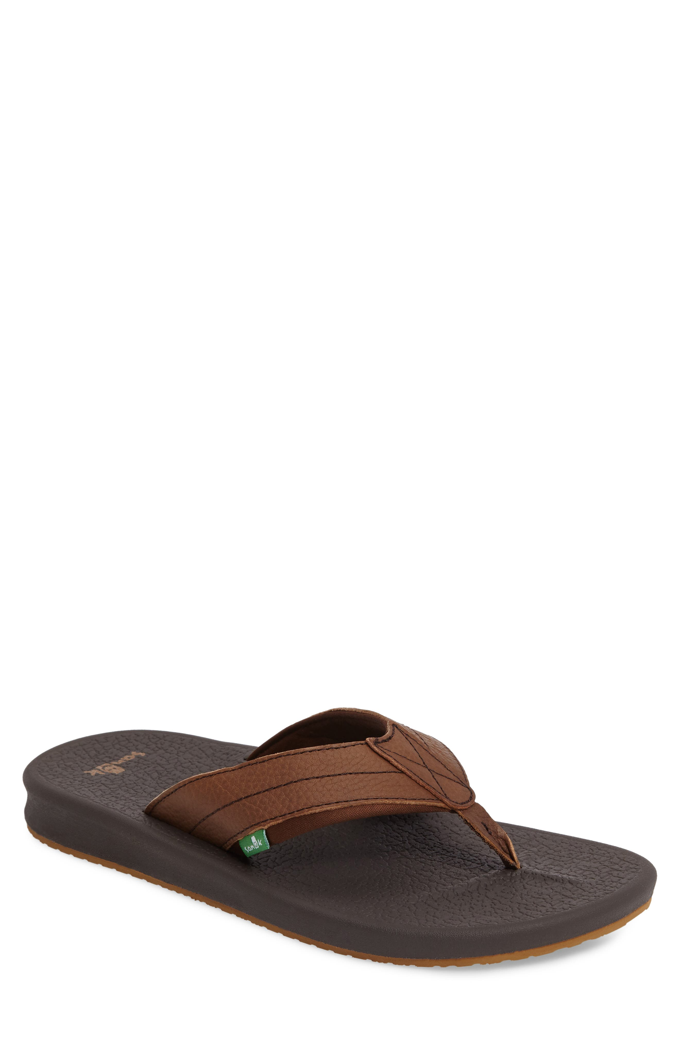 Brumesiter Primo Flip Flop,                         Main,                         color, Brown Leather