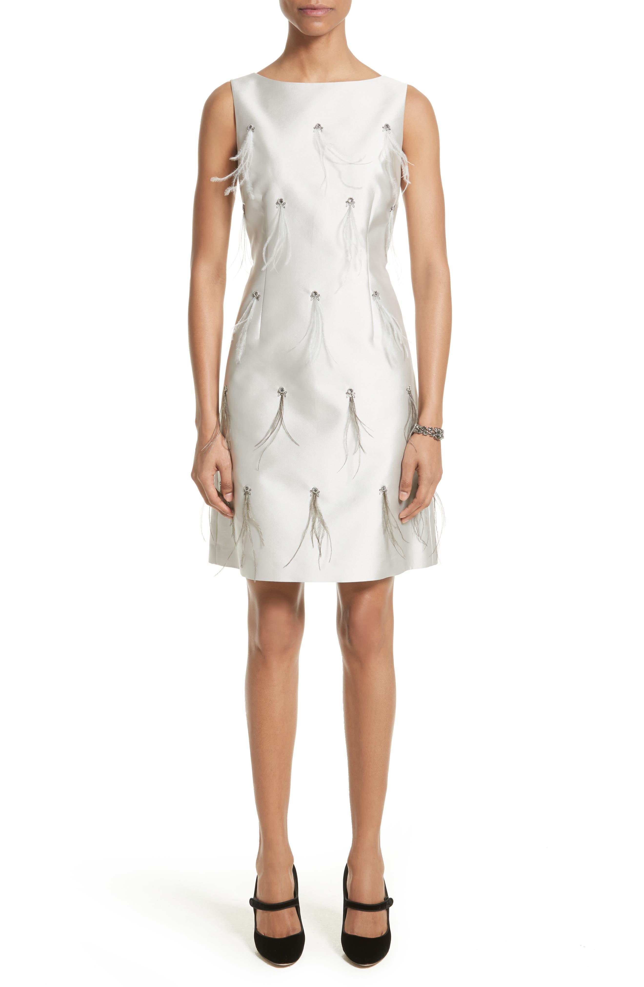 Main Image - St. John Collection Mikado Embellished A-Line Dress