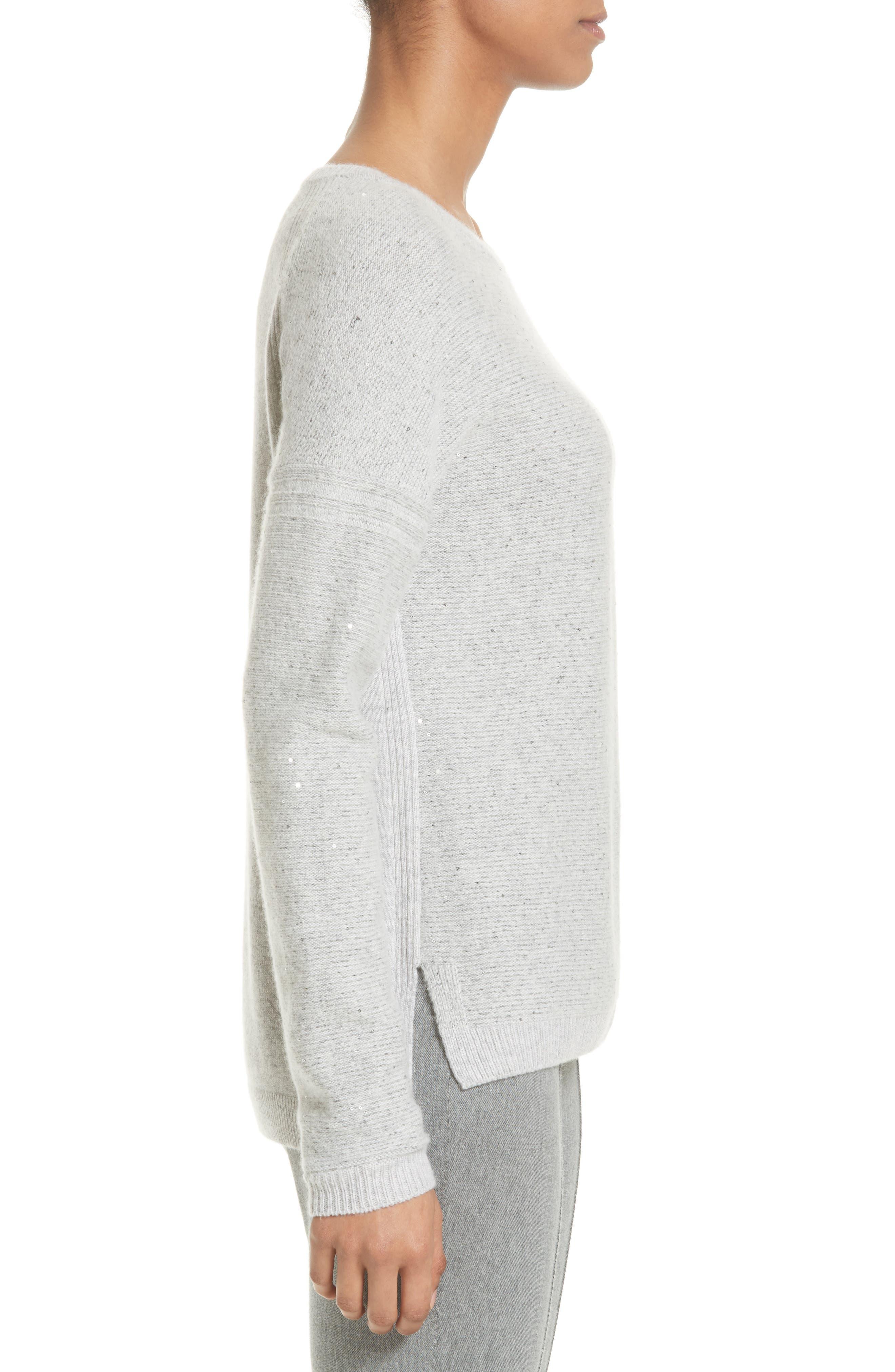 Micro Sequin Stripe Reverse Jersey Cashmere Blend Sweater,                             Alternate thumbnail 3, color,                             Light Grey Melange