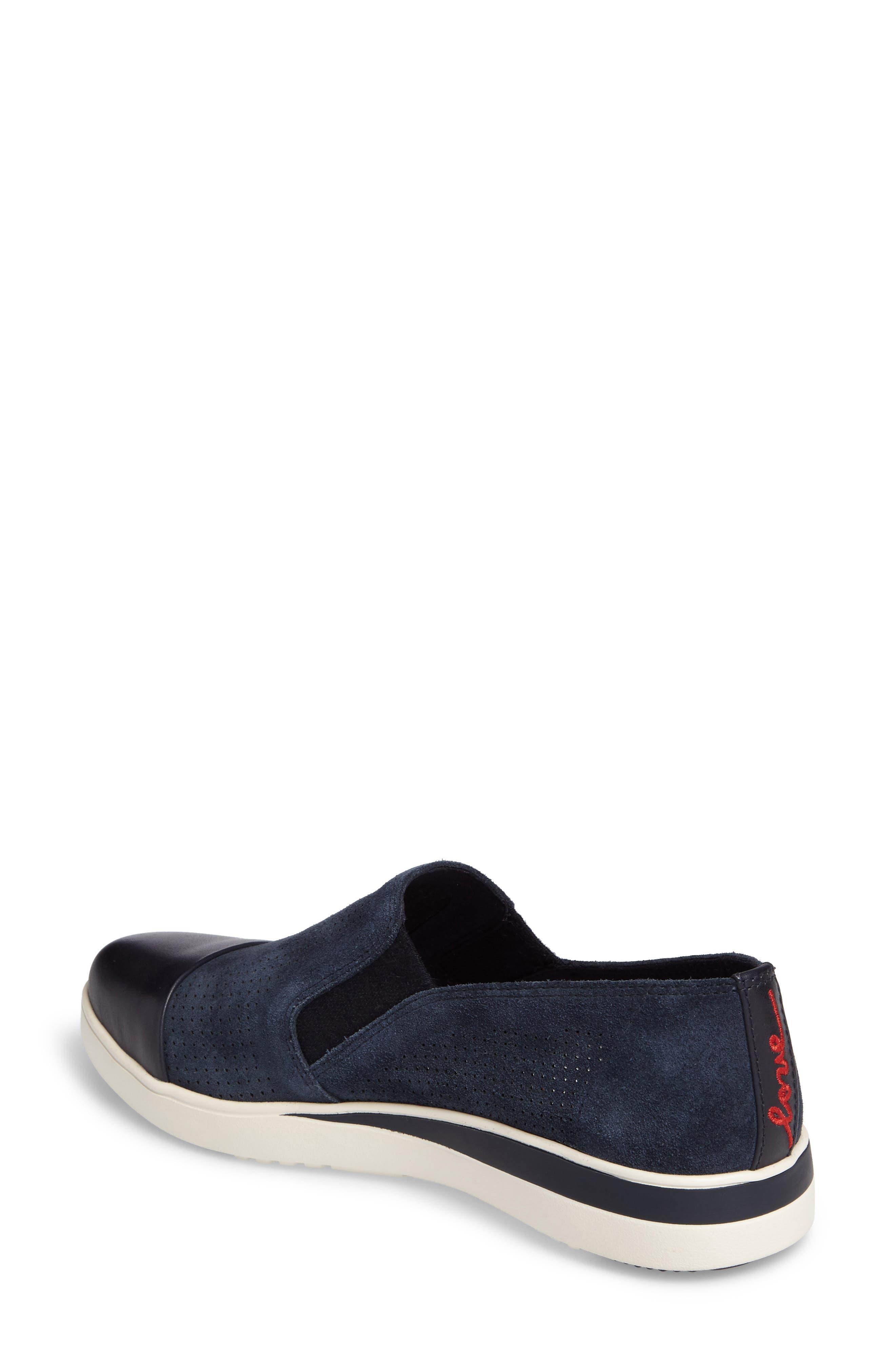Aviana Cap Toe Slip-On Sneaker,                             Alternate thumbnail 2, color,                             Lagoon Suede