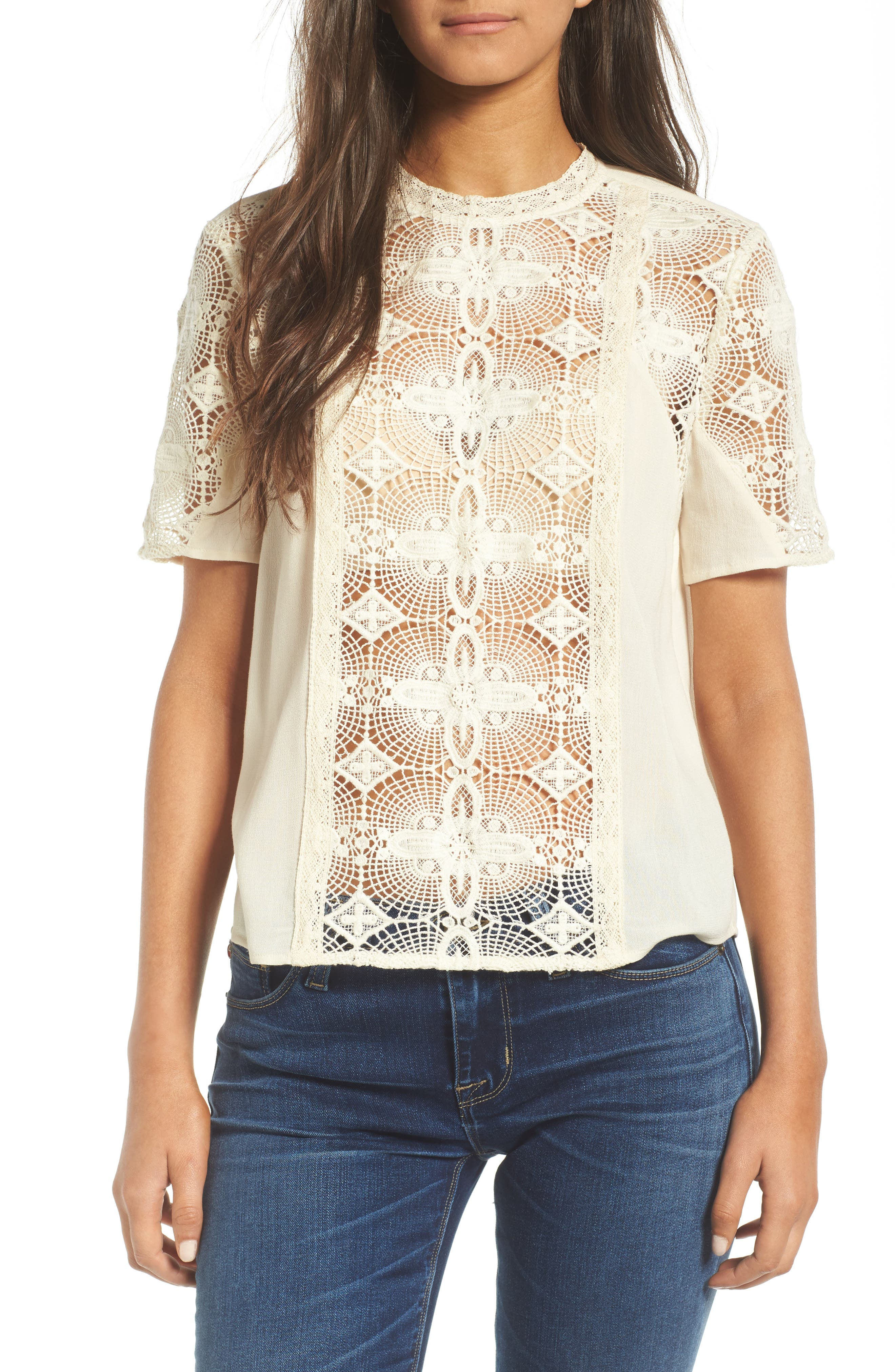 Vintage Lace Top,                         Main,                         color, Ivory Birch