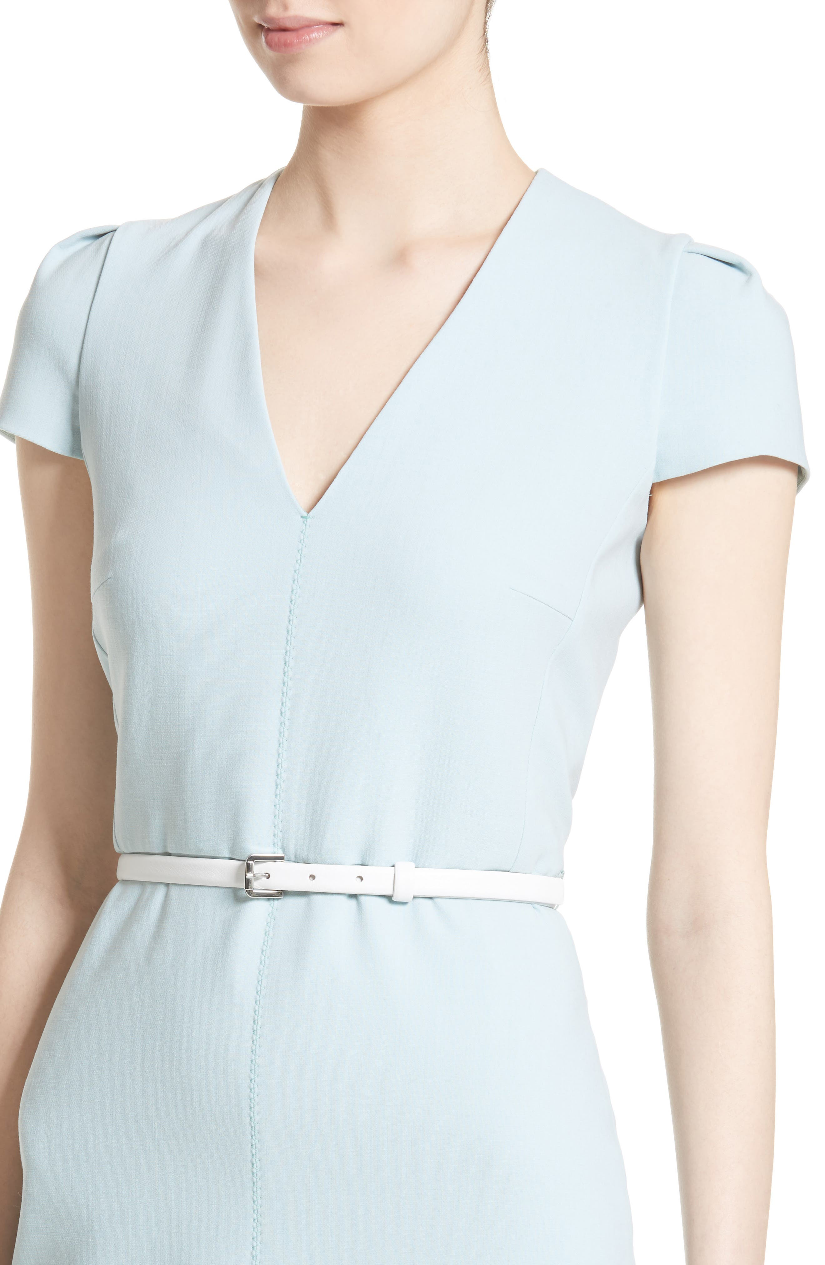 Teorema Belted Sheath Dress,                             Alternate thumbnail 6, color,                             Water