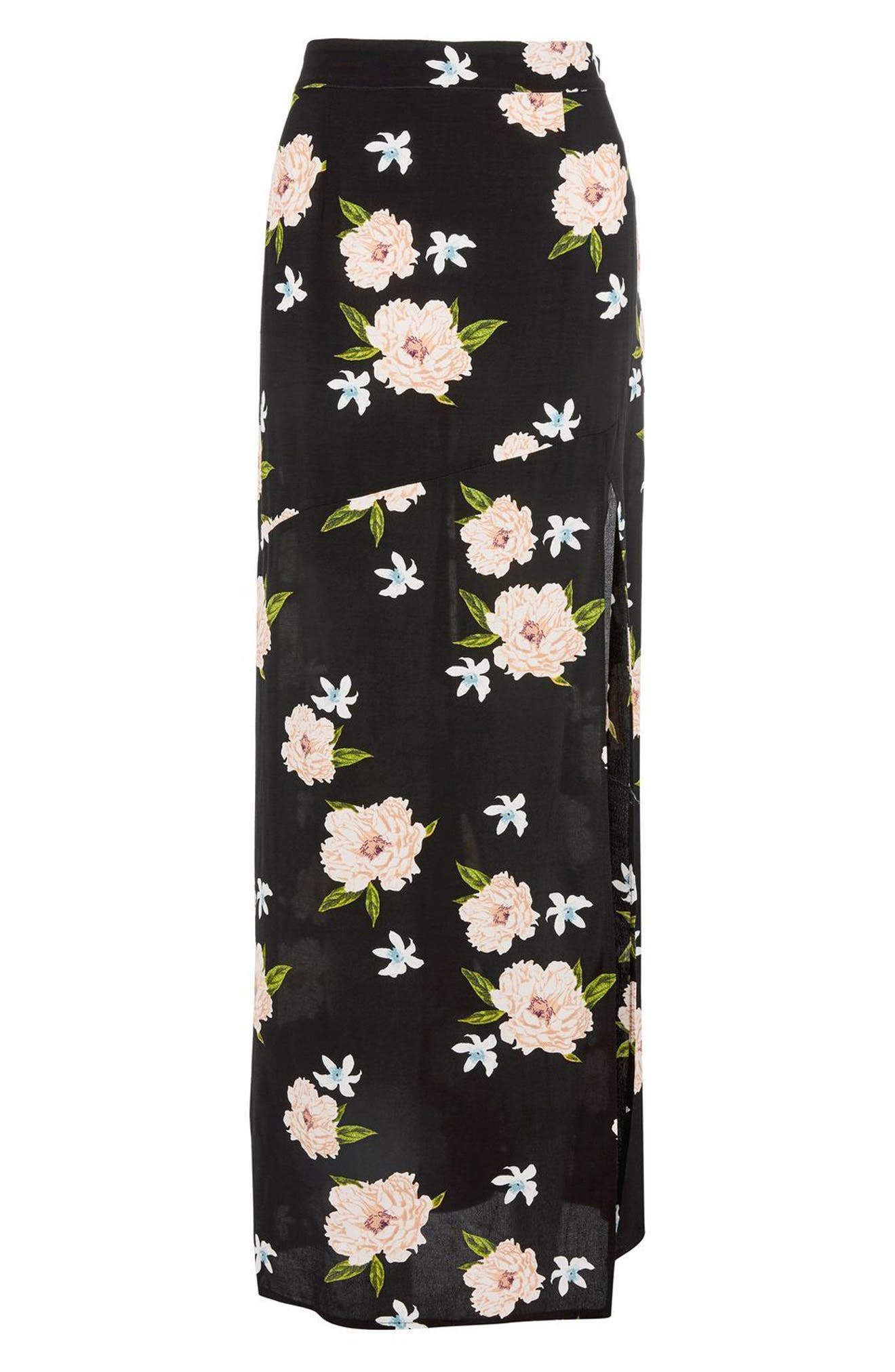 Alternate Image 4  - Topshop Split Floral Maxi Skirt