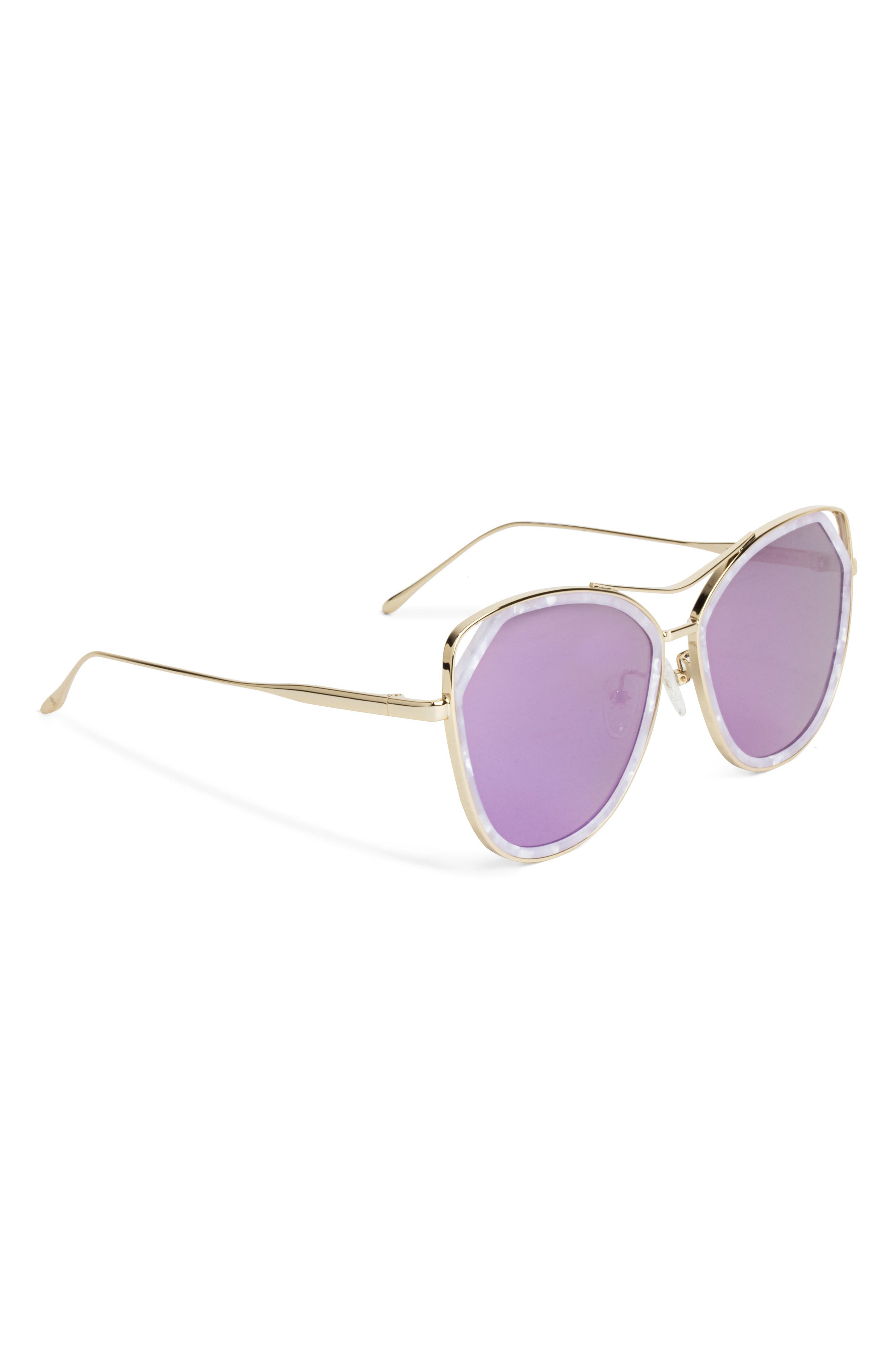 Grand 56mm Polarized Cat Eye Sunglasses,                             Alternate thumbnail 4, color,                             Lavender
