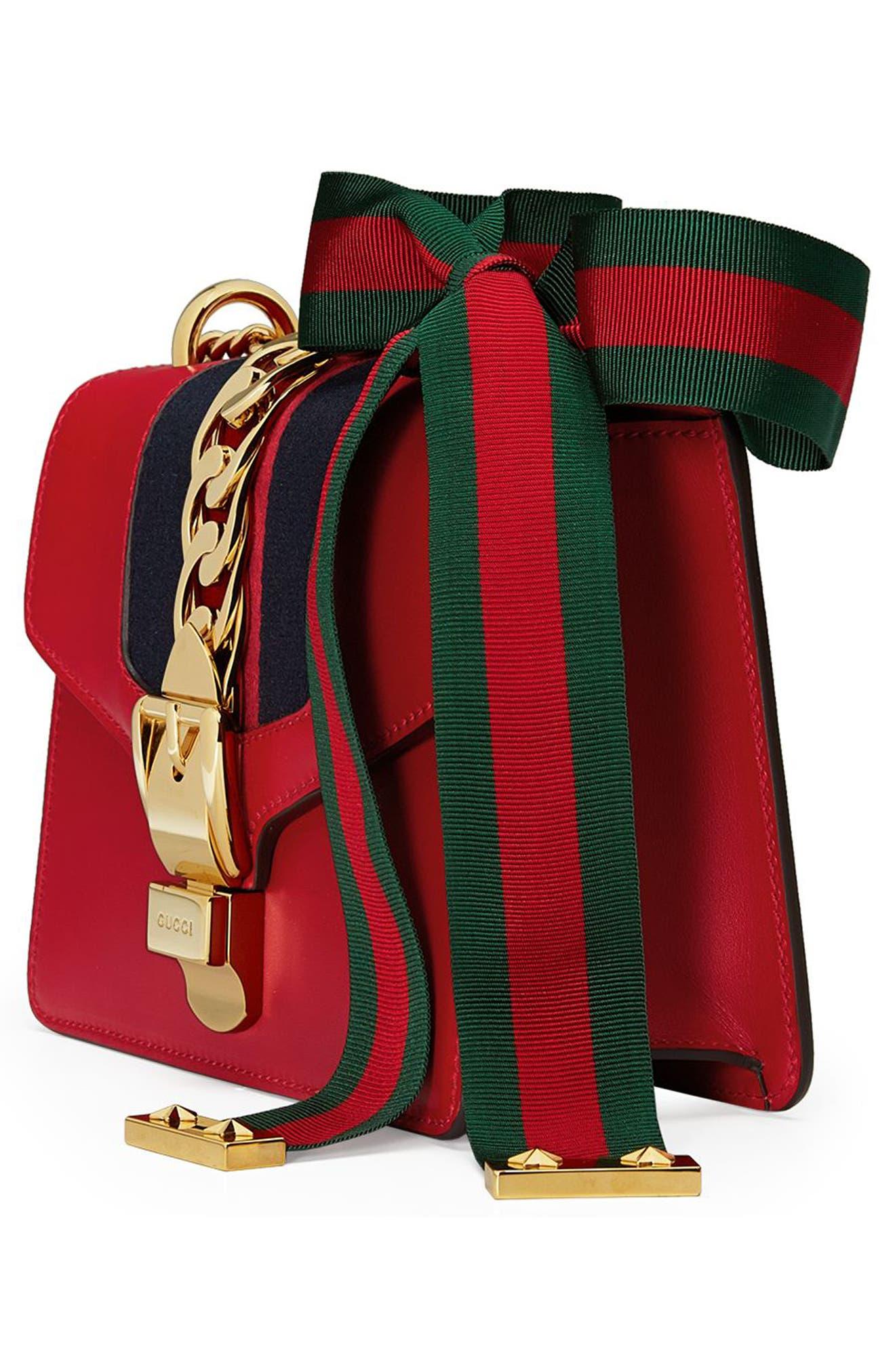 Mini Sylvie Leather Shoulder Bag,                             Alternate thumbnail 4, color,                             Hibiscus Red
