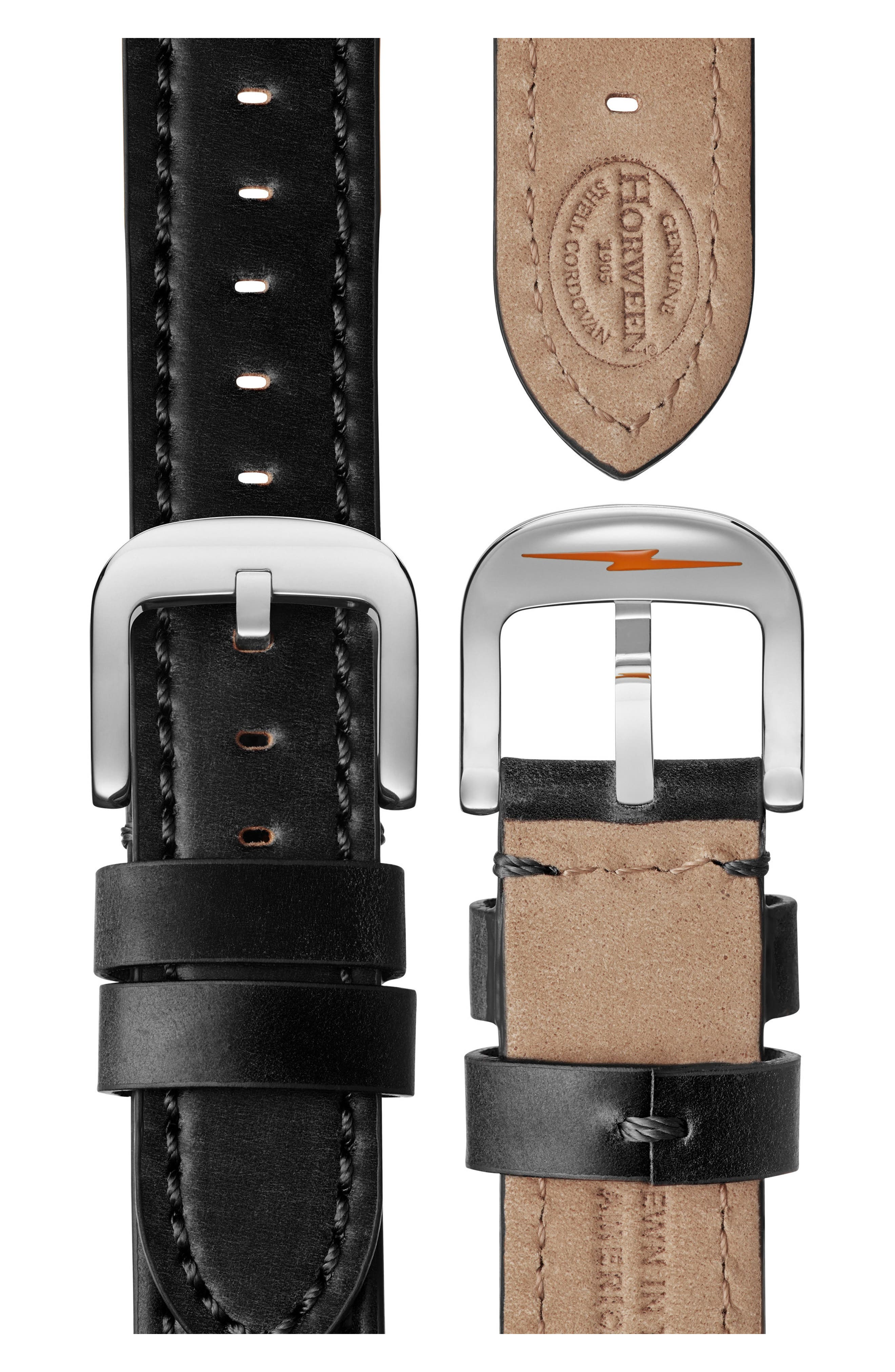 Bedrock Leather Strap Watch, 42mm,                             Alternate thumbnail 5, color,                             Black