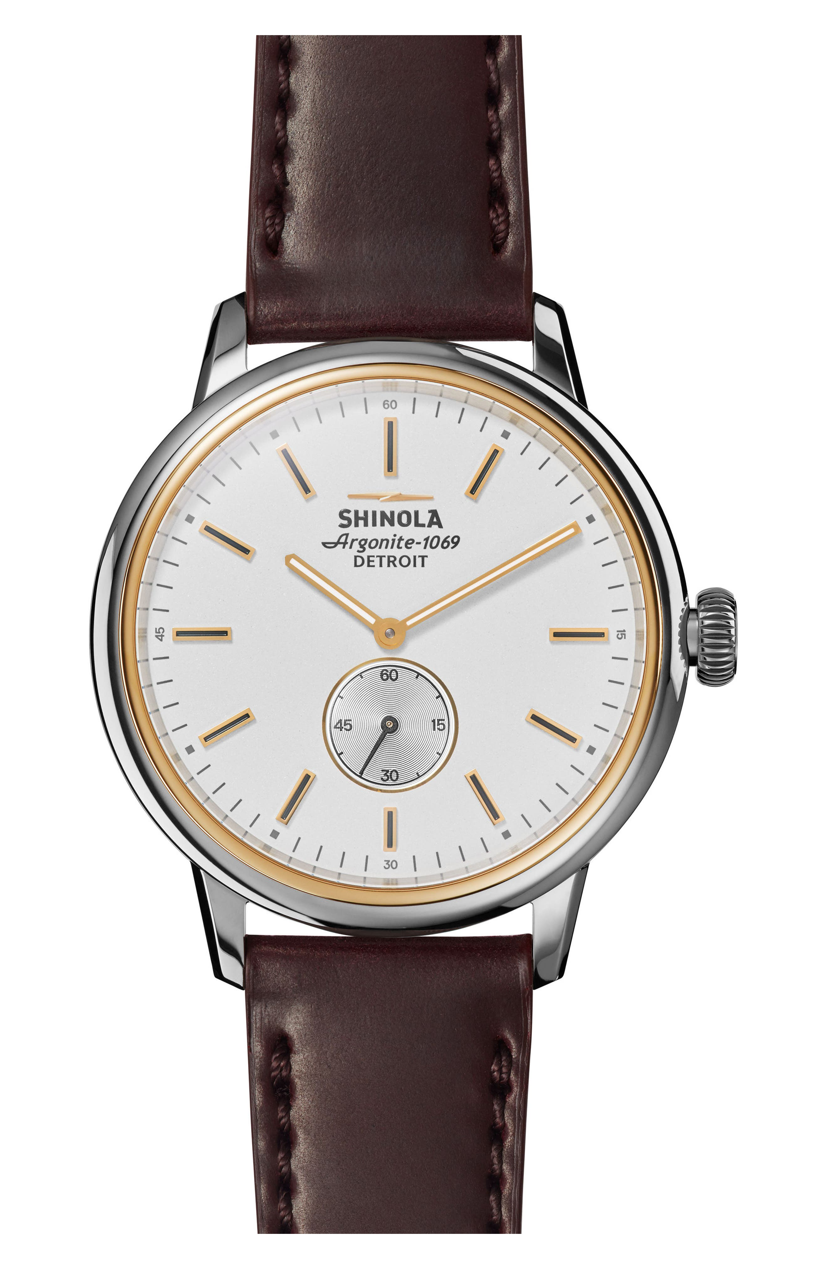 Bedrock Leather Strap Watch, 42mm,                             Main thumbnail 1, color,                             Oxblood/ White