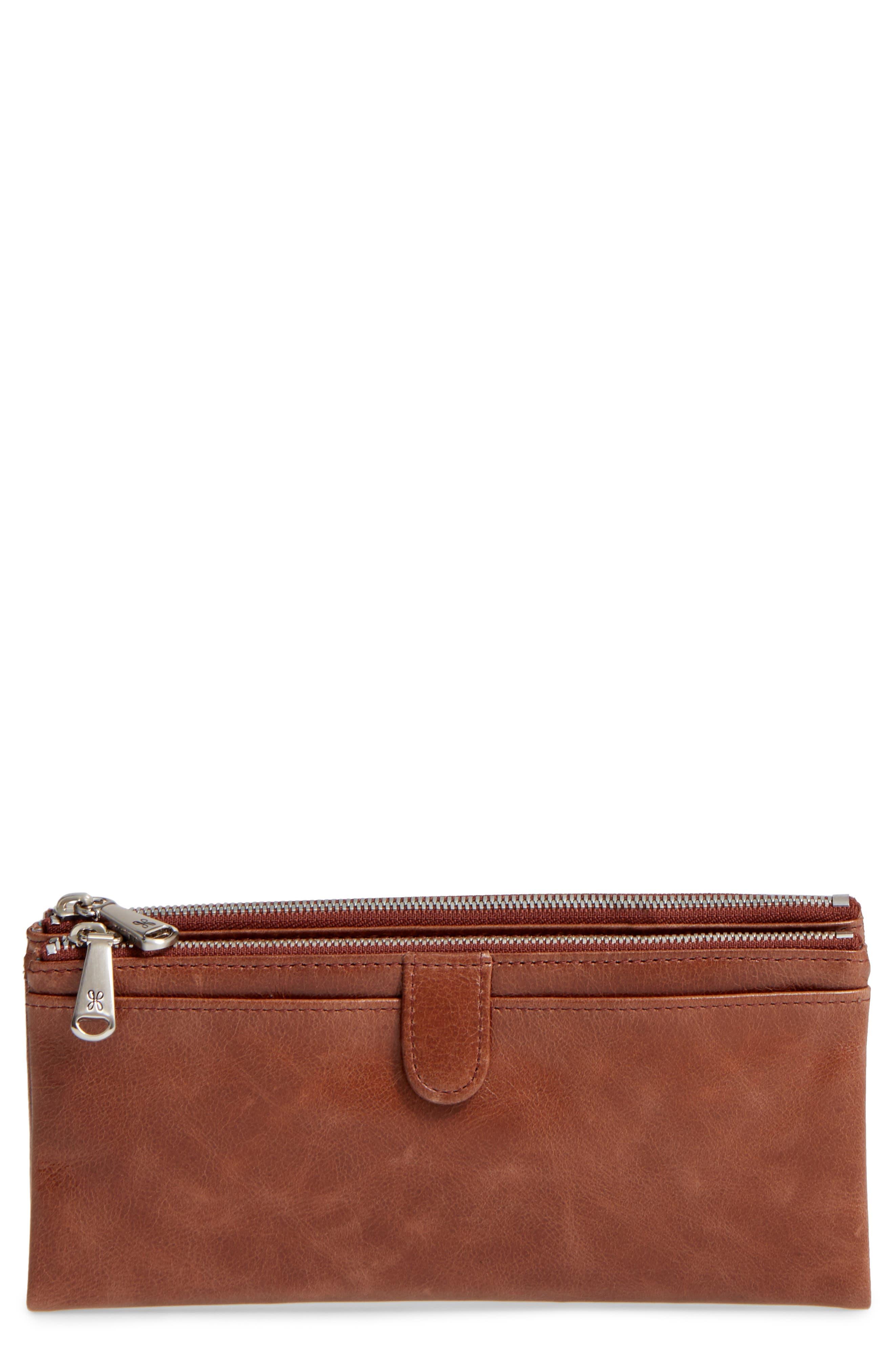 'Taylor' Glazed Leather Wallet,                         Main,                         color, Cafe