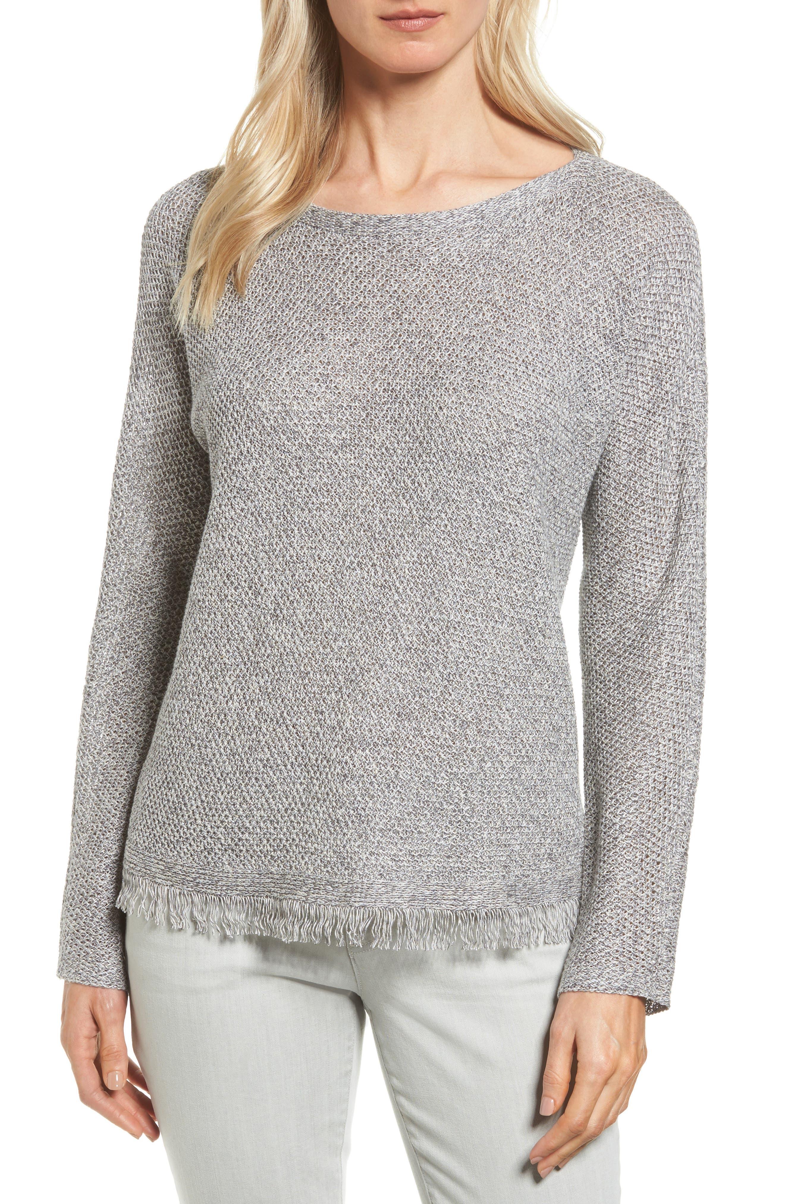 Alternate Image 1 Selected - Eileen Fisher Organic Linen Pullover (Regular & Petite)