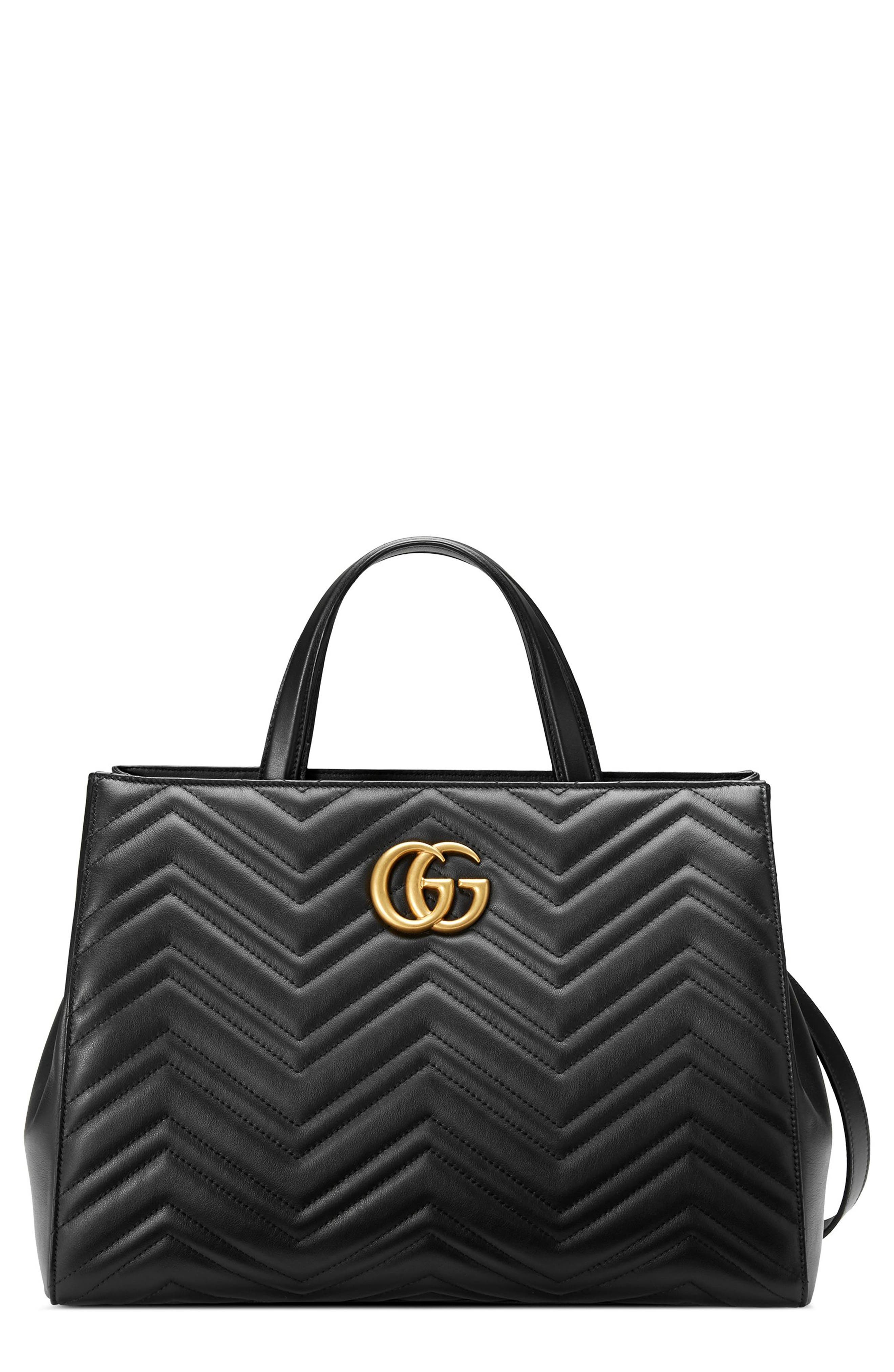 Gucci GG Marmont Medium Matelassé Leather Top Handle Shoulder Bag