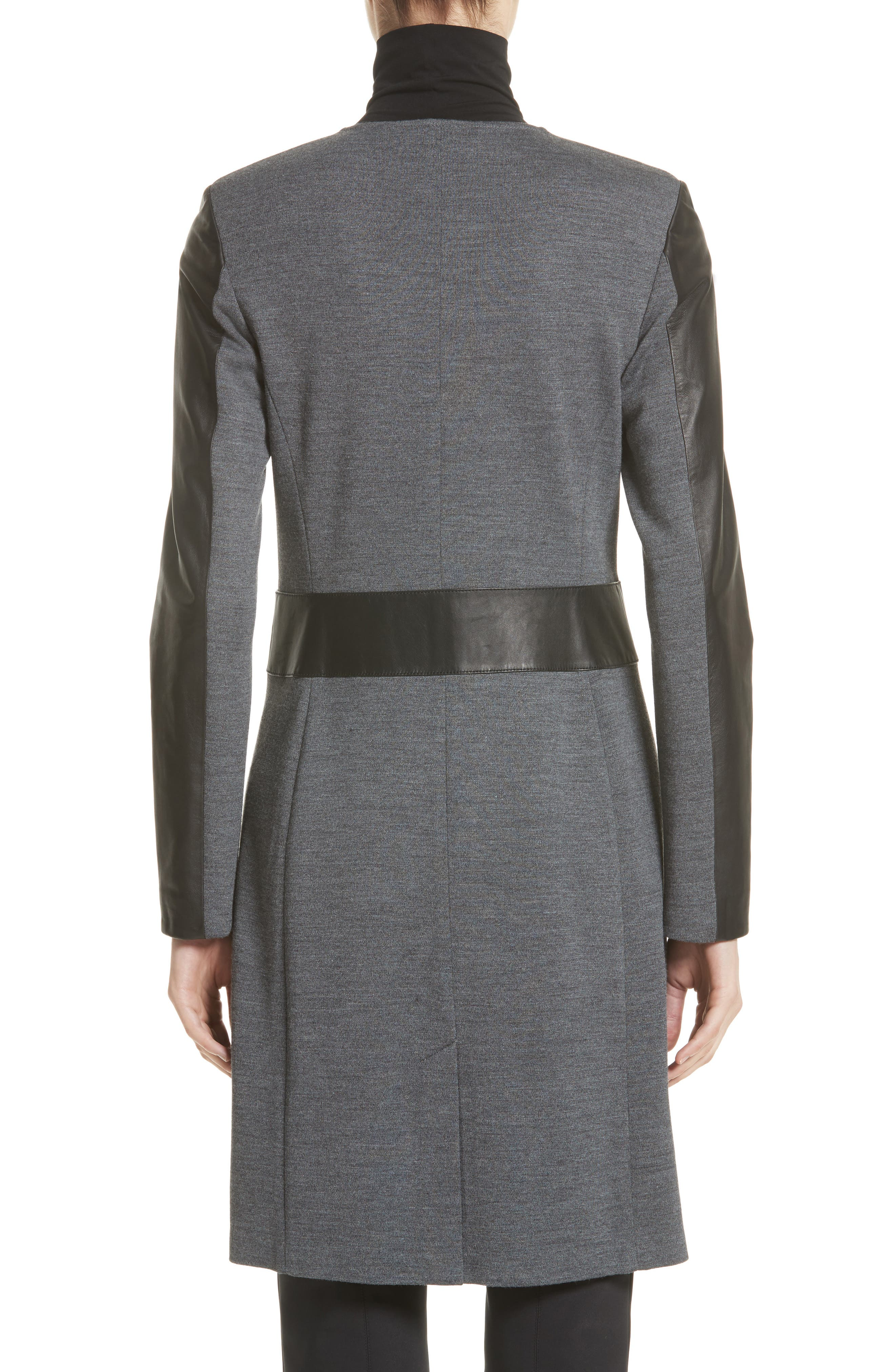 Alternate Image 2  - St. John Collection Leather & Milano Knit Topper