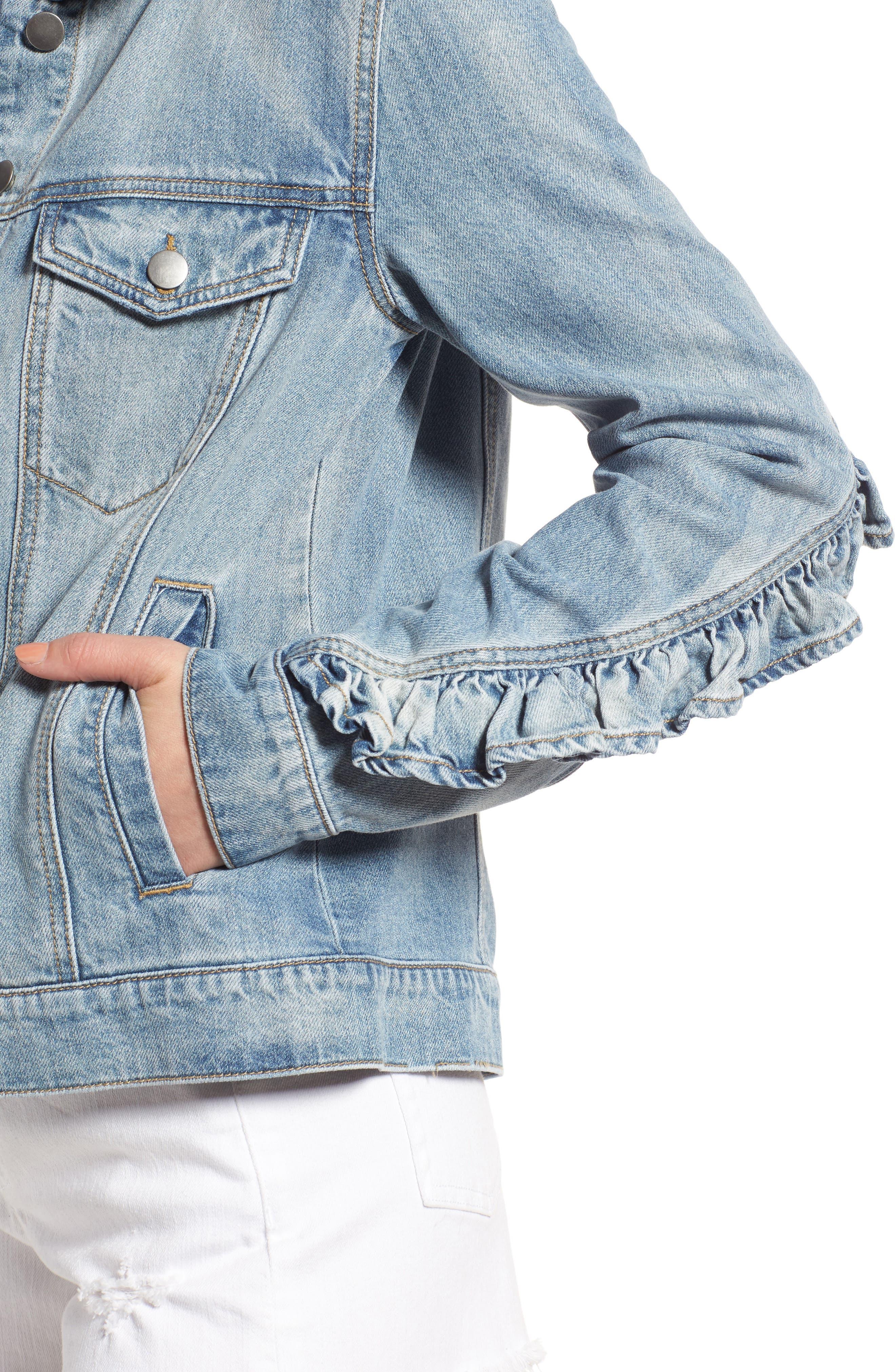 Ruffle Denim Jacket,                             Alternate thumbnail 4, color,                             Austin Wash