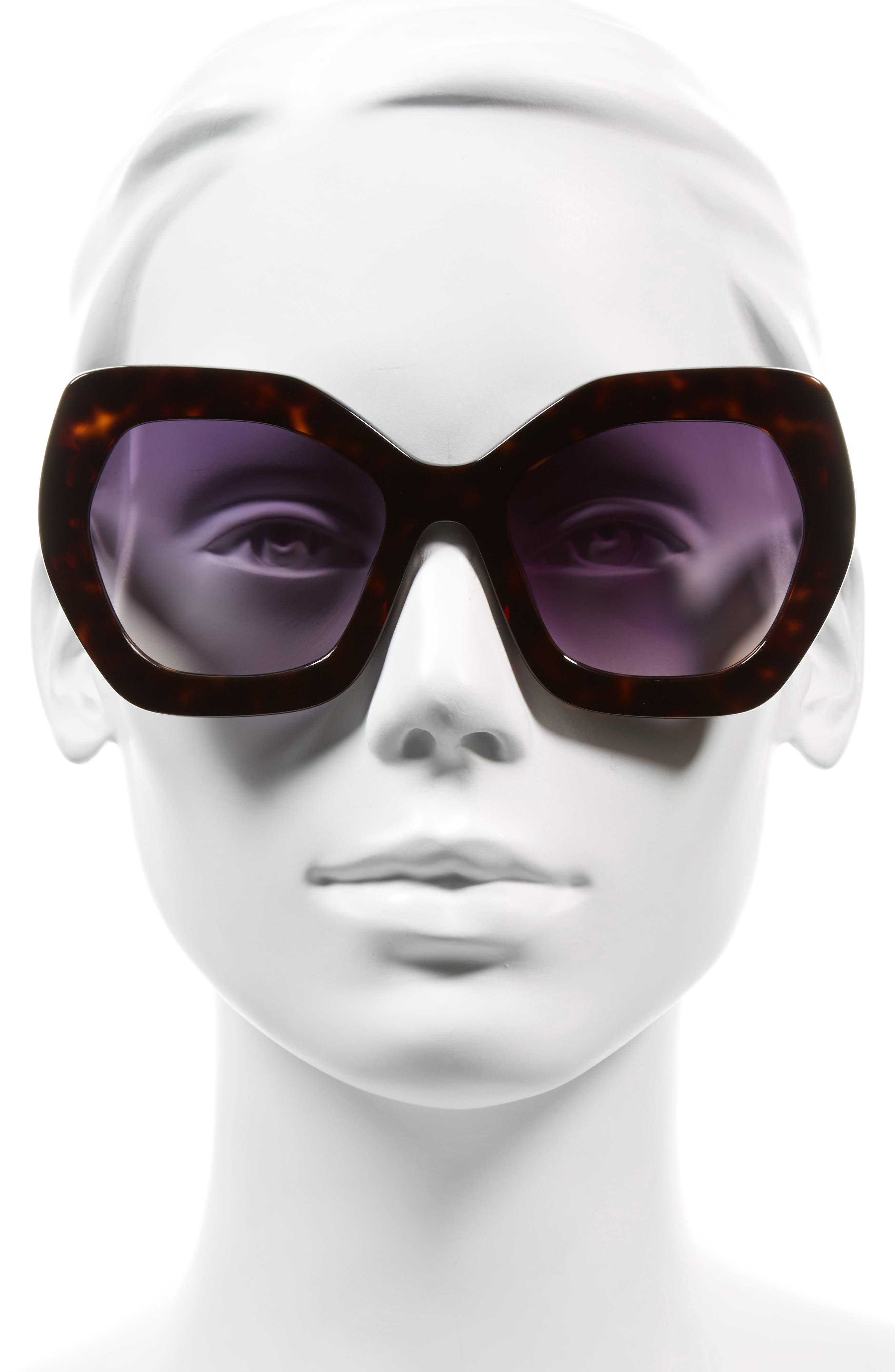 Dinah 55mm Butterfly Sunglasses,                             Alternate thumbnail 2, color,                             Dark Tortoise