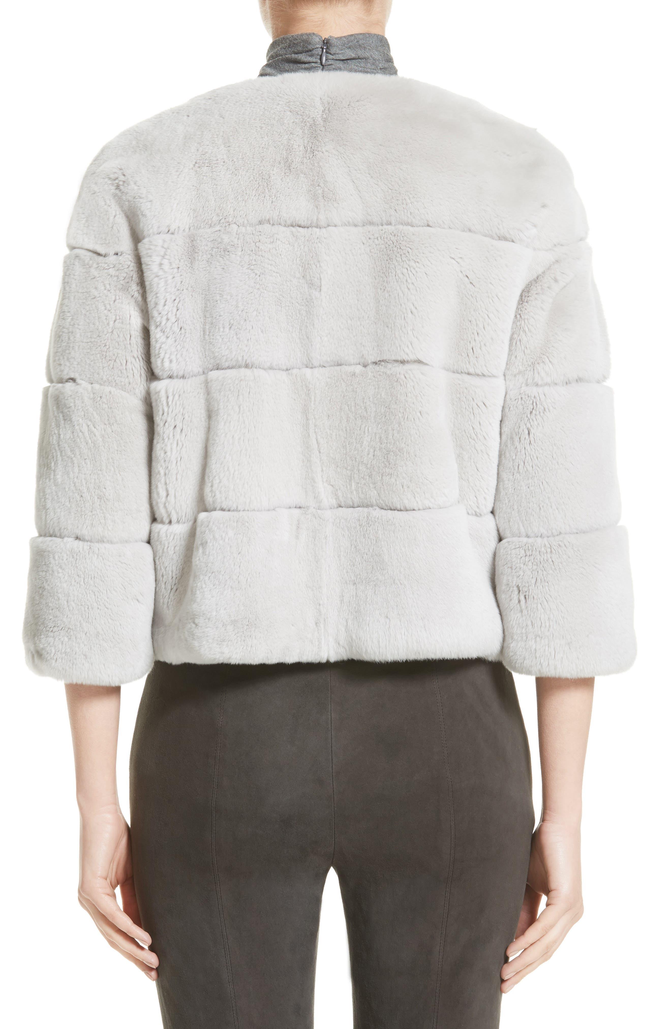 Genuine Rex Rabbit Fur Jacket,                             Alternate thumbnail 2, color,                             Light Grey