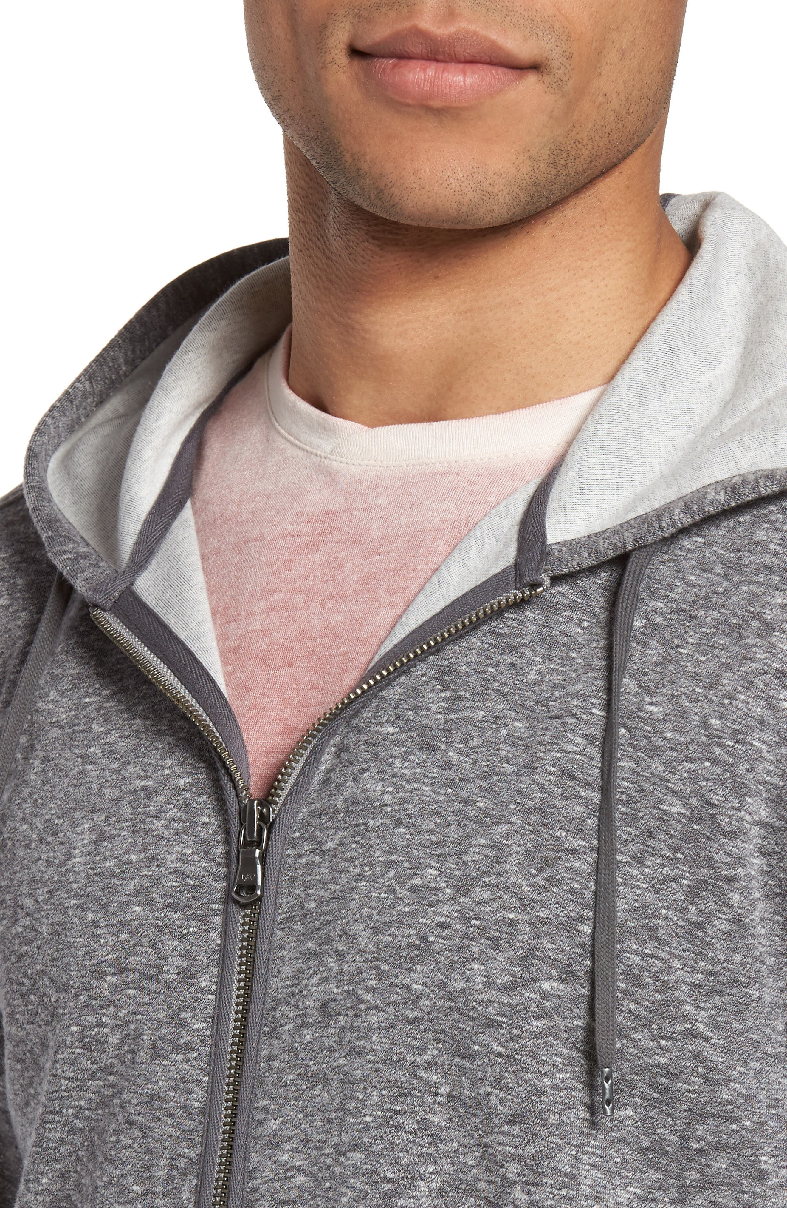 Zip Front Hoodie,                             Alternate thumbnail 4, color,                             Medium Grey