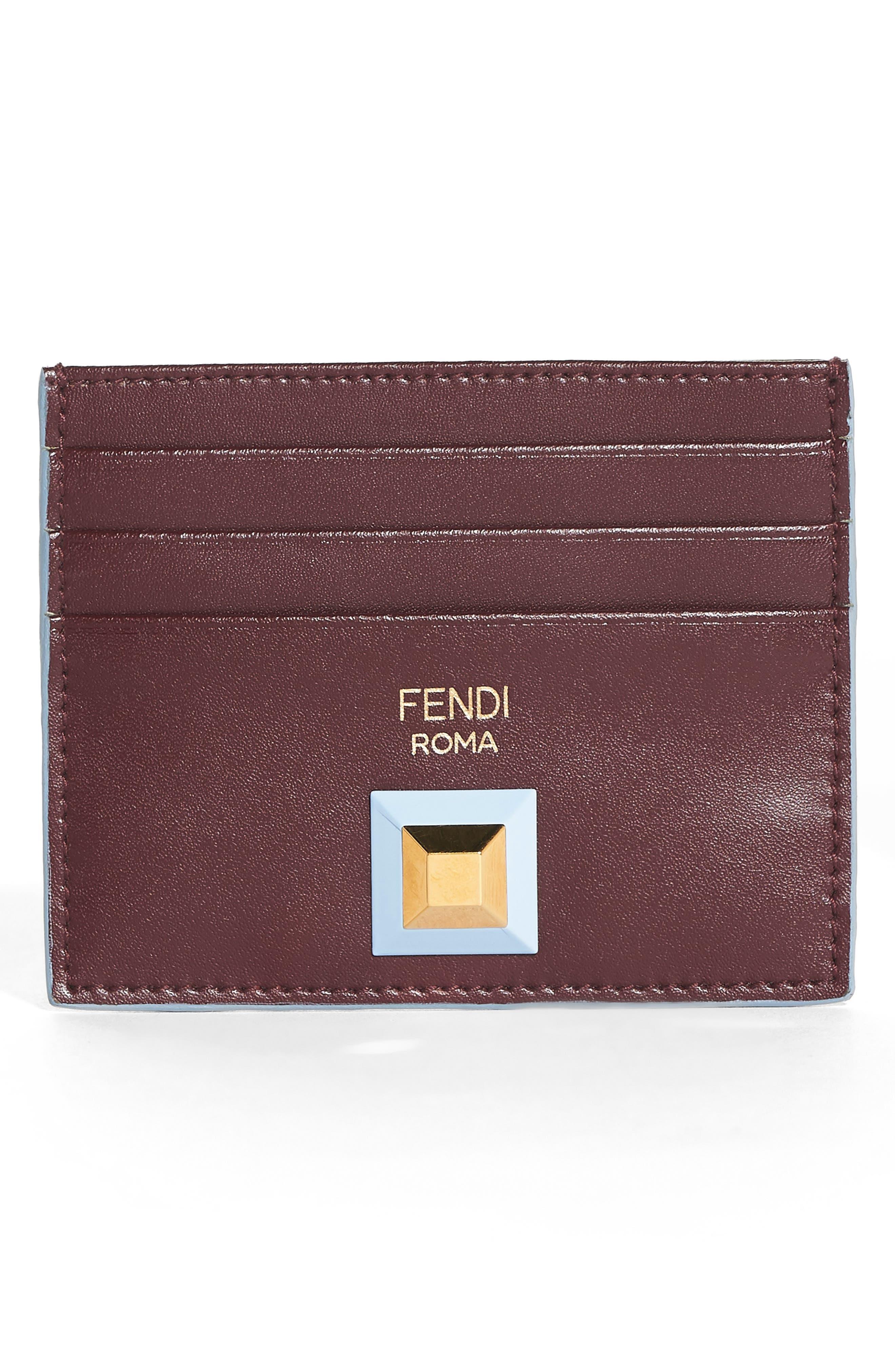 Alternate Image 1 Selected - Fendi Rainbow Stud Leather Card Case