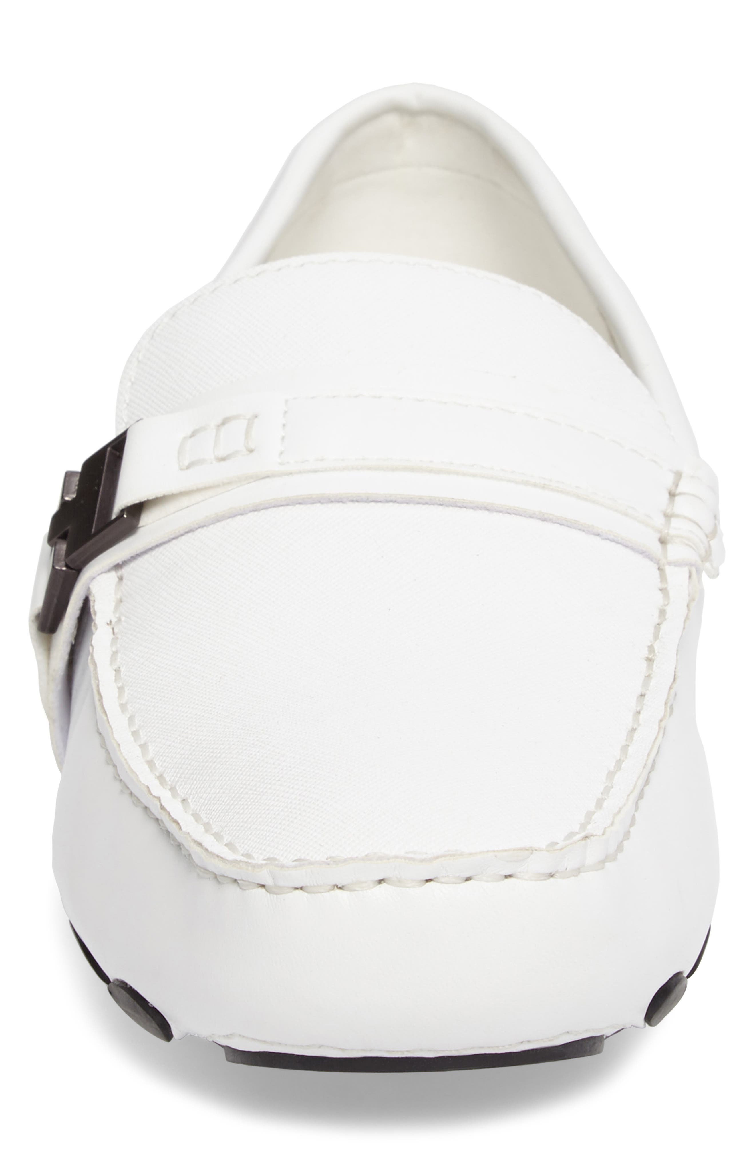 'Toast 2 Me' Driving Shoe,                             Alternate thumbnail 4, color,                             White Leather