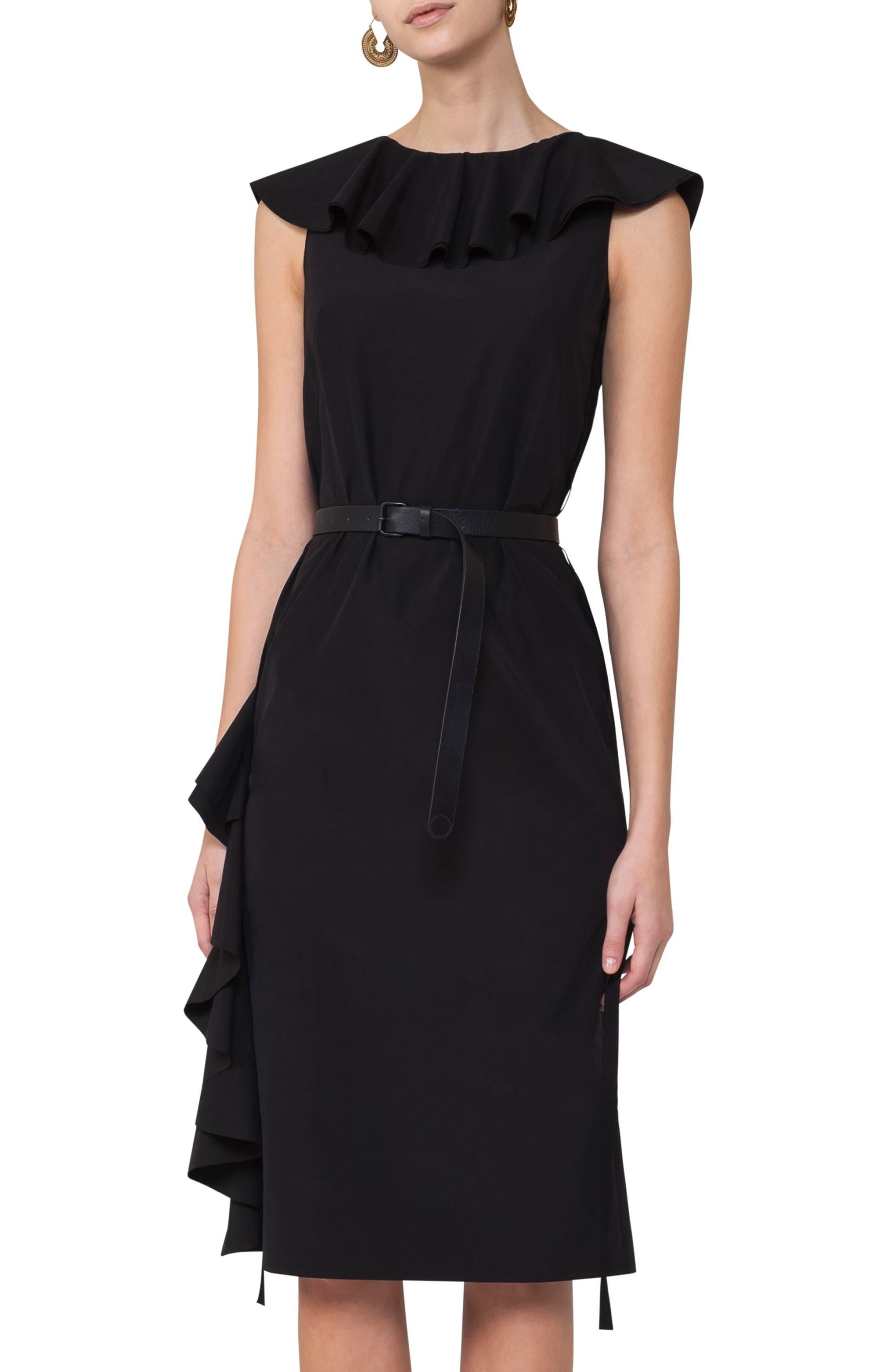 Ruffle Shift Dress,                         Main,                         color, Black