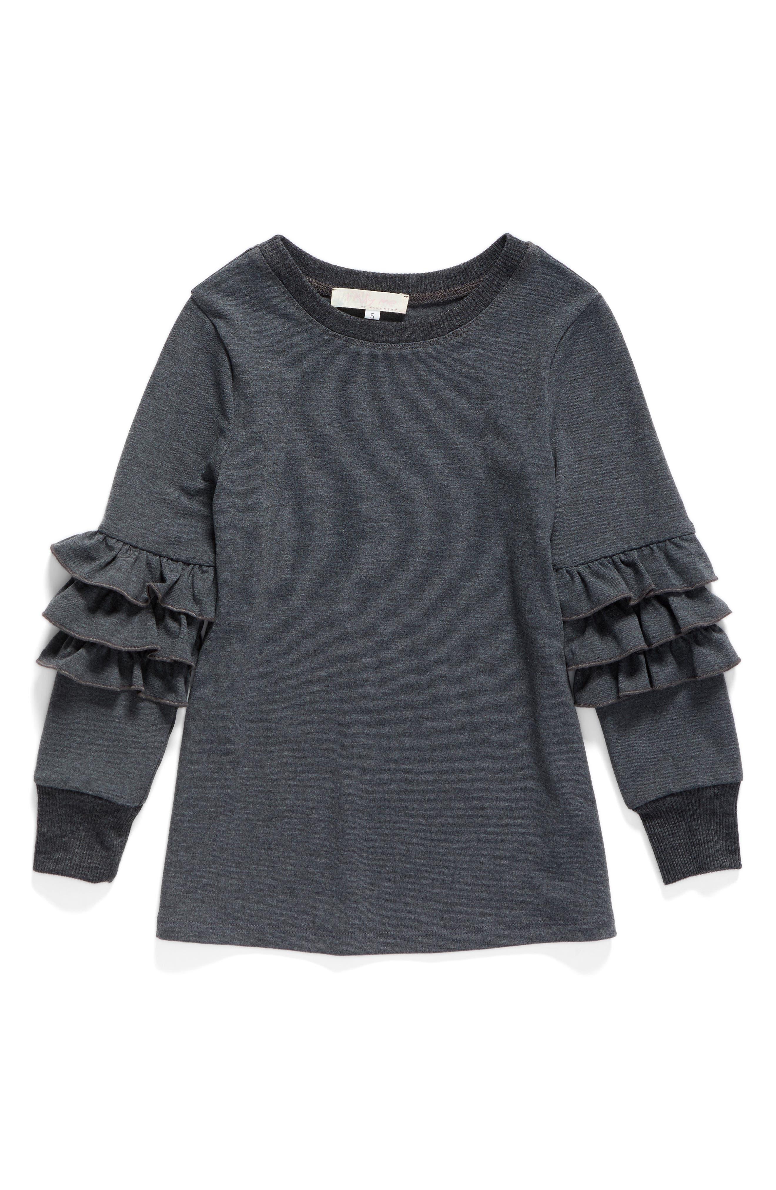 Ruffle Sleeve Sweatshirt,                         Main,                         color, Charcoal