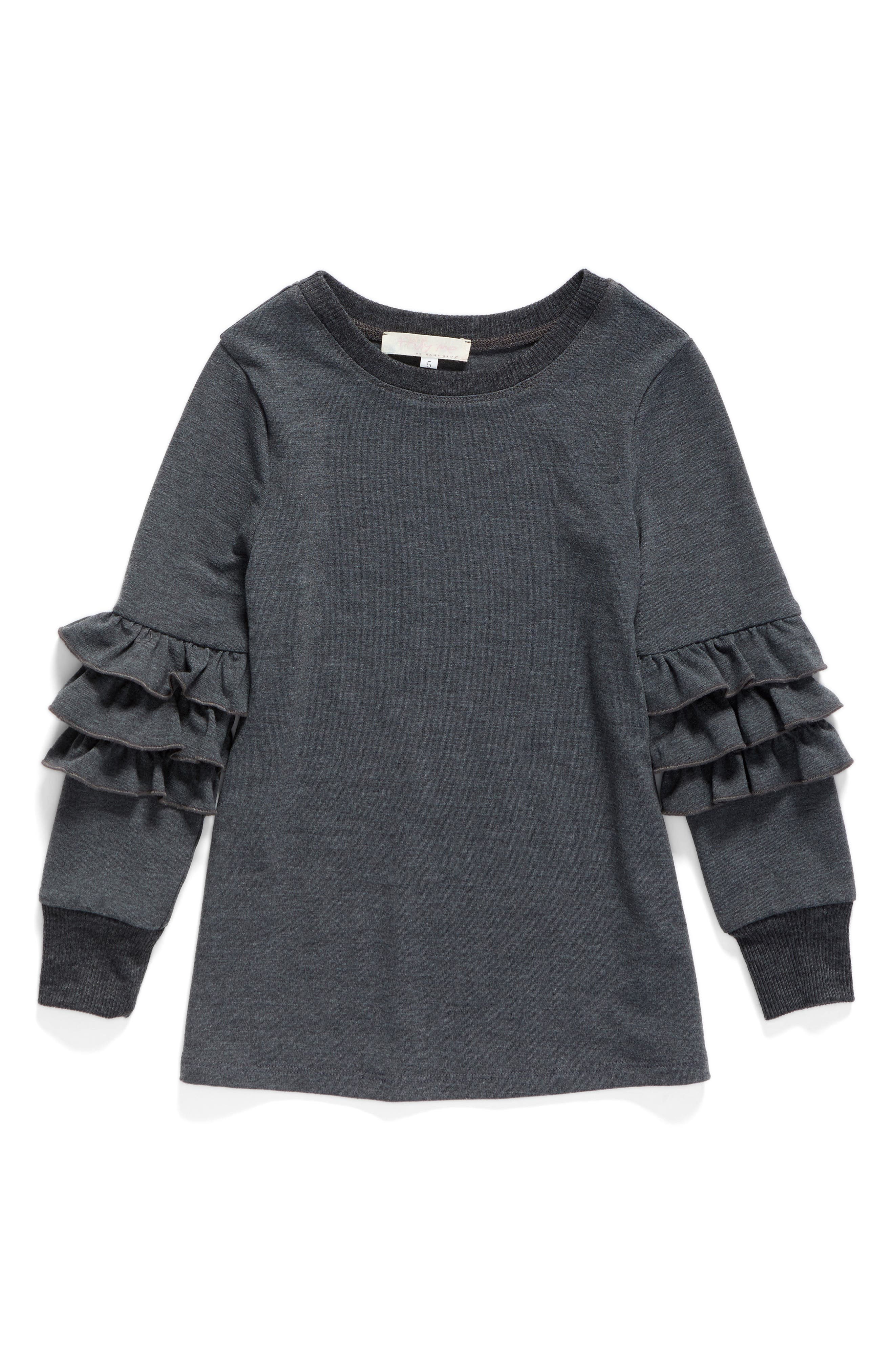 Truly Me Ruffle Sleeve Sweatshirt (Toddler Girls & Little Girls)
