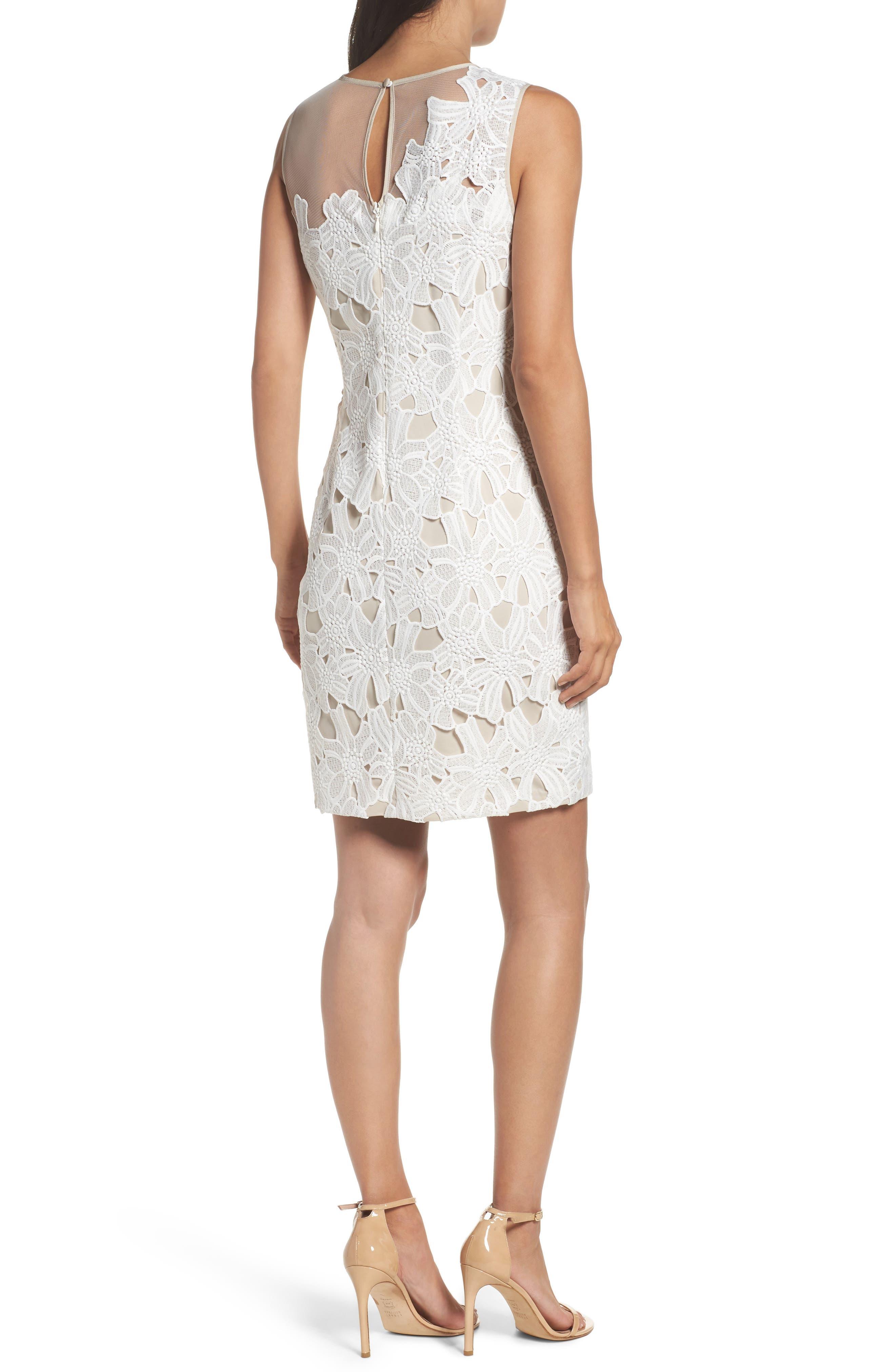 Cecila Lace Sheath Dress & Jacket Set,                             Alternate thumbnail 2, color,                             White/ Chamois