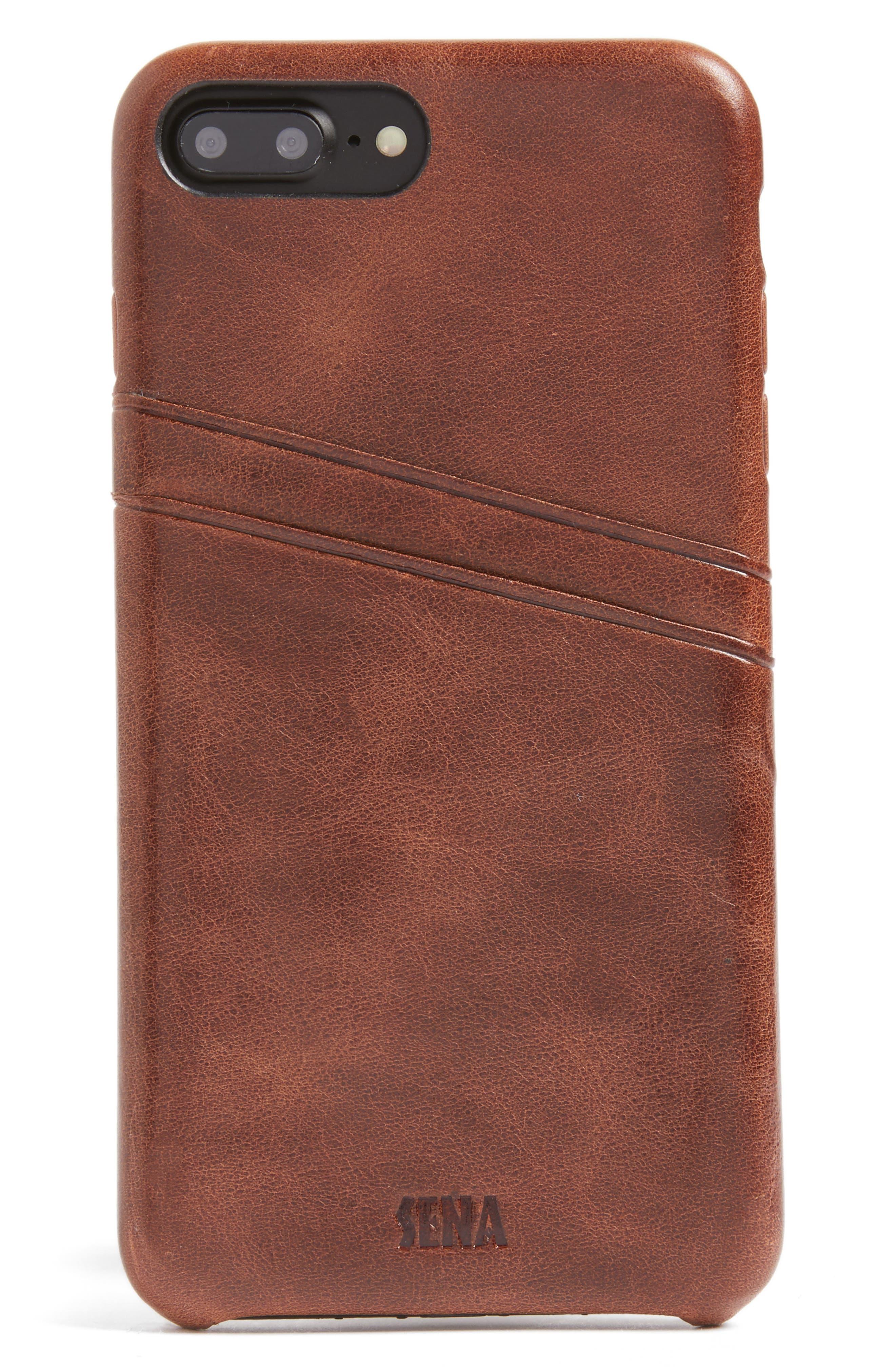 iPhone 7/8 Plus Snap-On Wallet Case,                             Main thumbnail 1, color,                             Cognac