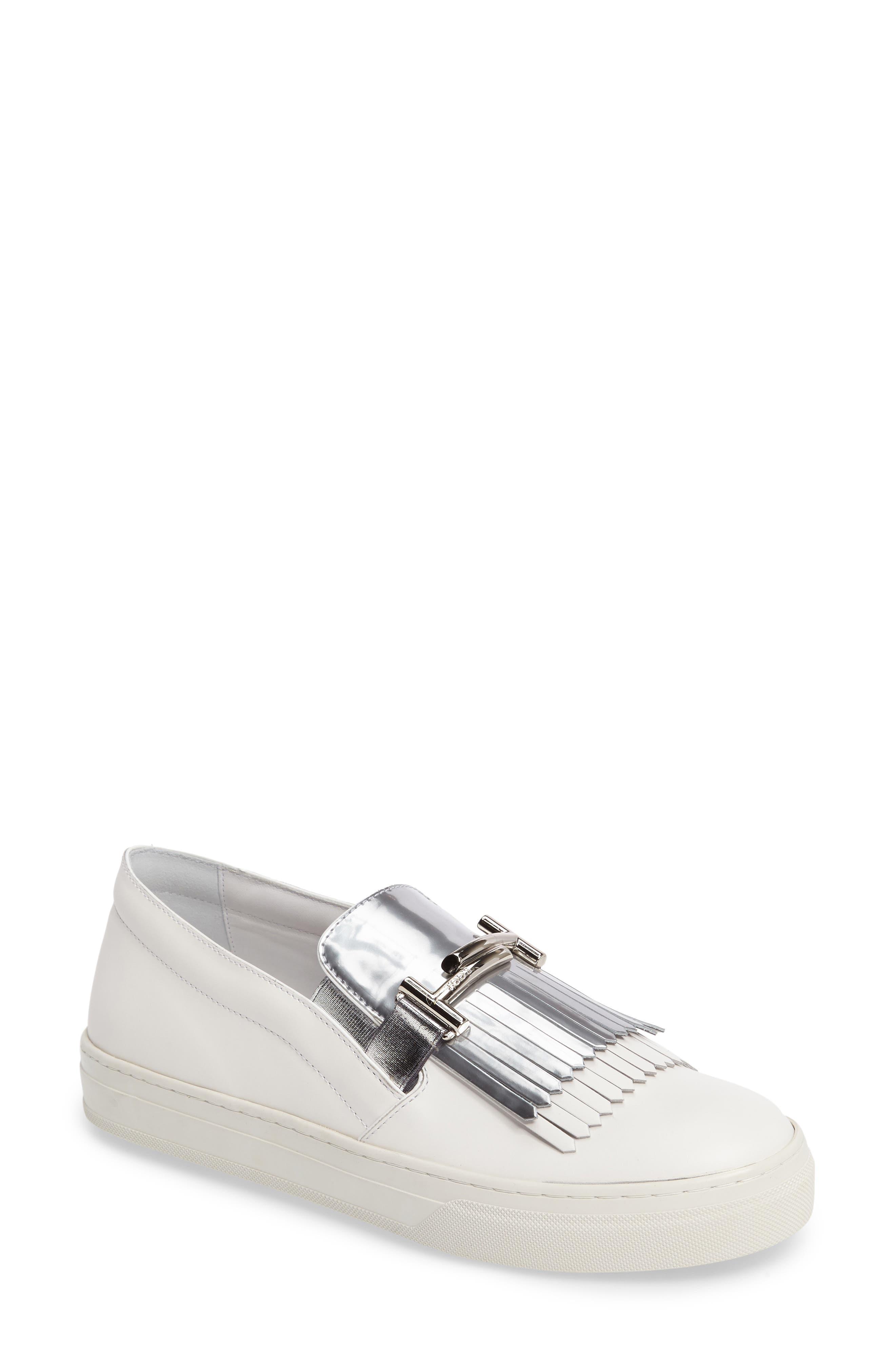 Main Image - Tod's Double-T Kiltie Fringe Slip-On Sneaker (Women)