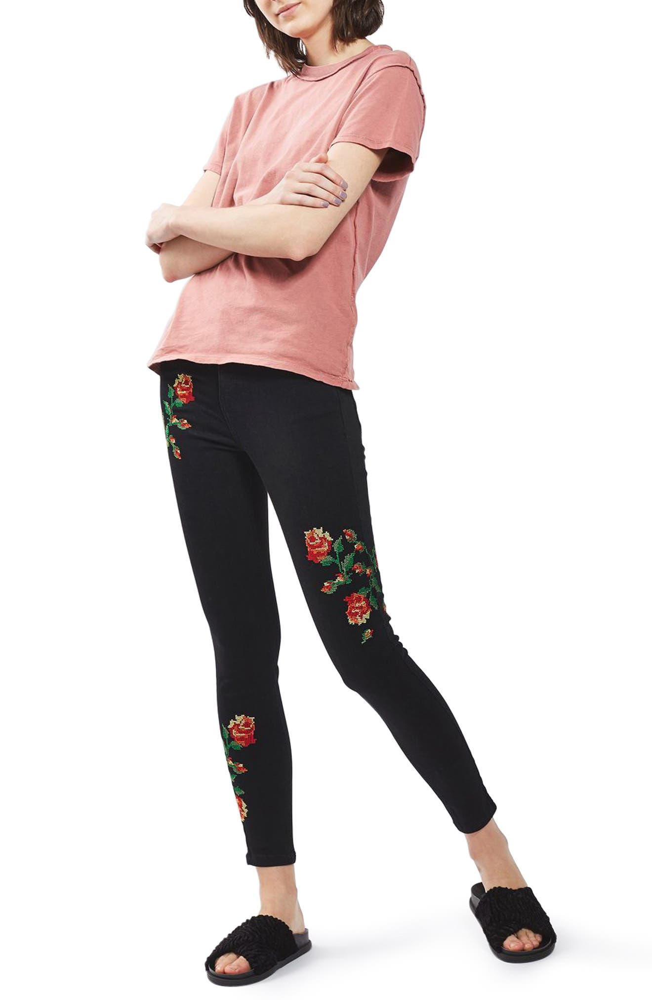 Main Image - Topshop Jamie Embroidered Skinny Jeans (Regular & Petite)