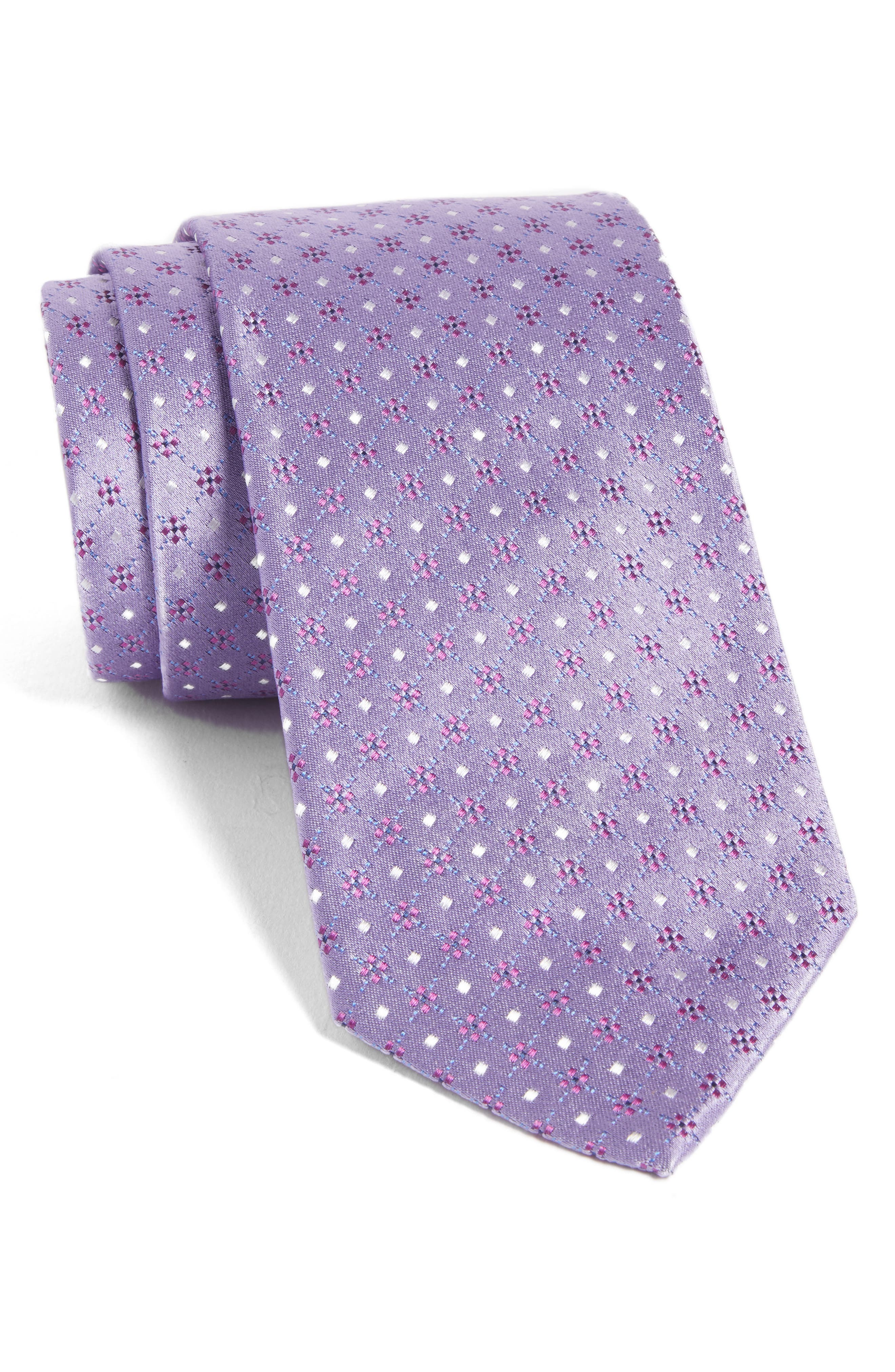 Geometric Silk Tie,                             Main thumbnail 1, color,                             Light Pastel/ Purple