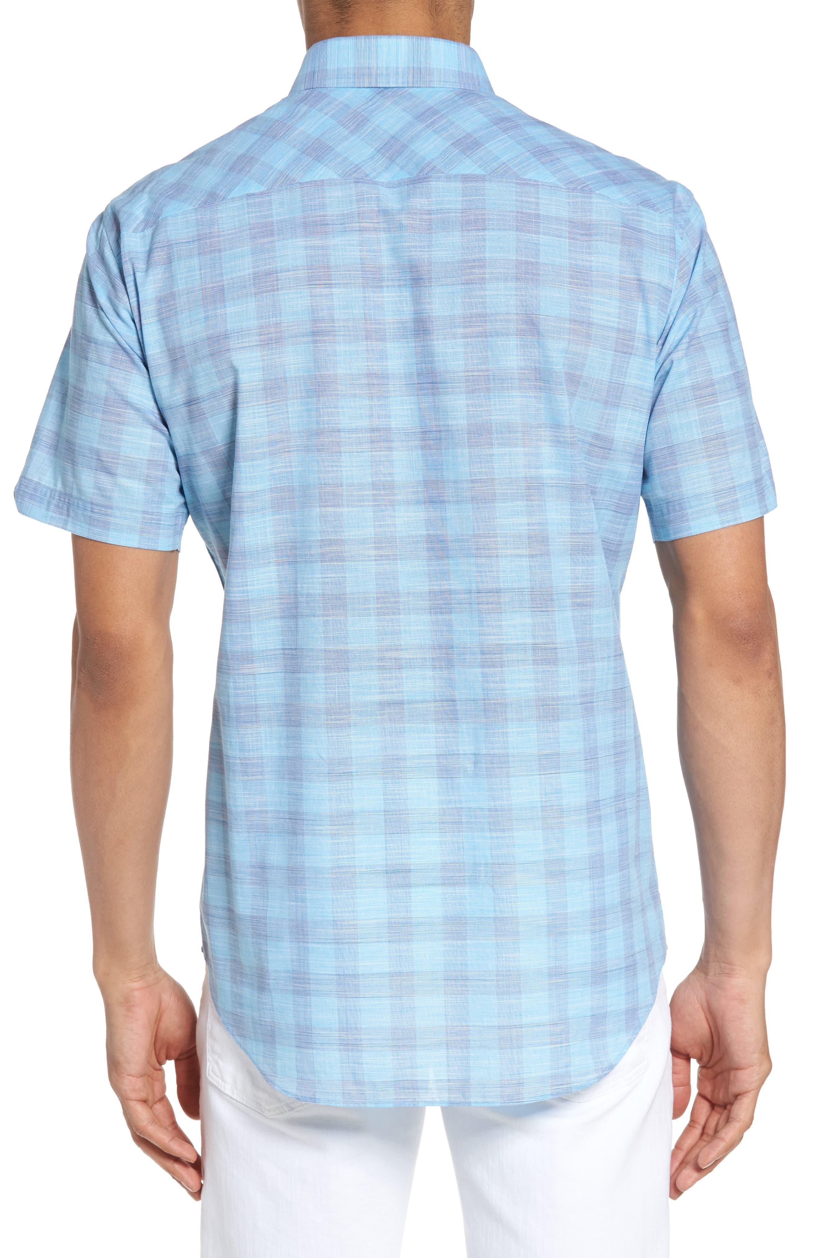 Hasanagic Trim Fit Plaid Sport Shirt,                             Alternate thumbnail 2, color,                             Turquoise