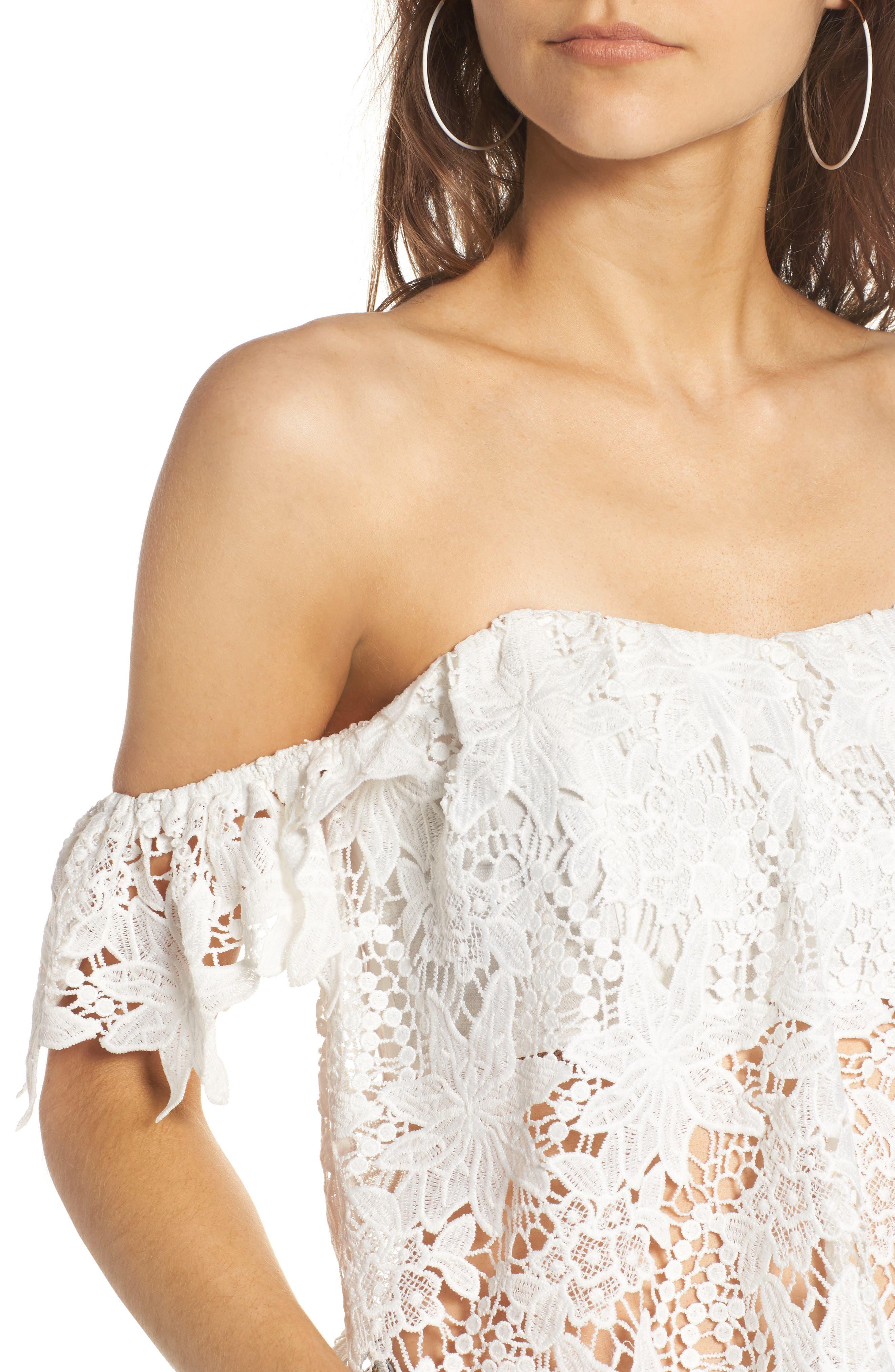 Alternate Image 4  - ASTR the Label Adela Off the Shoulder Lace Top
