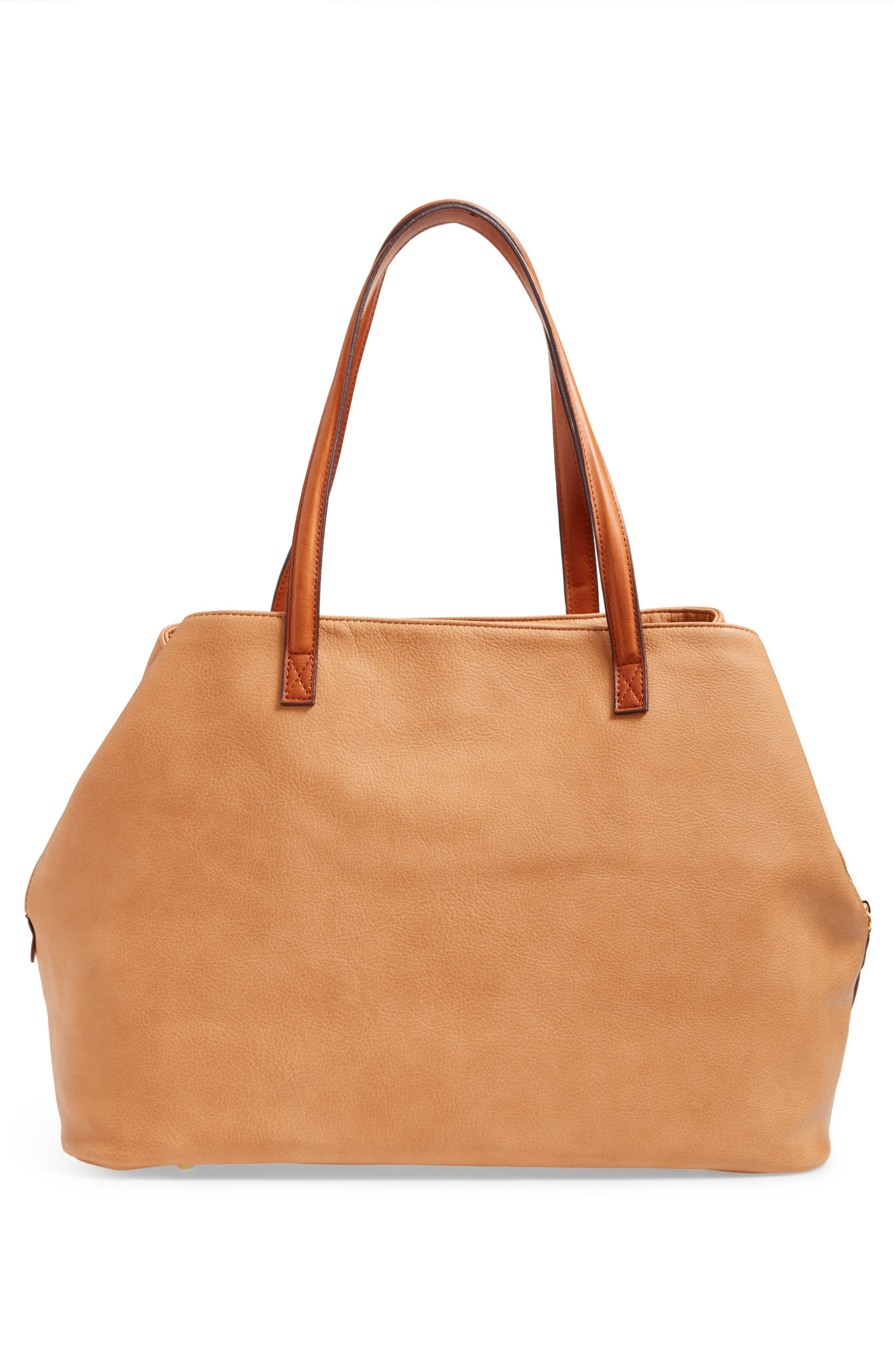 Millar Faux Leather Tote,                             Alternate thumbnail 2, color,                             Camel