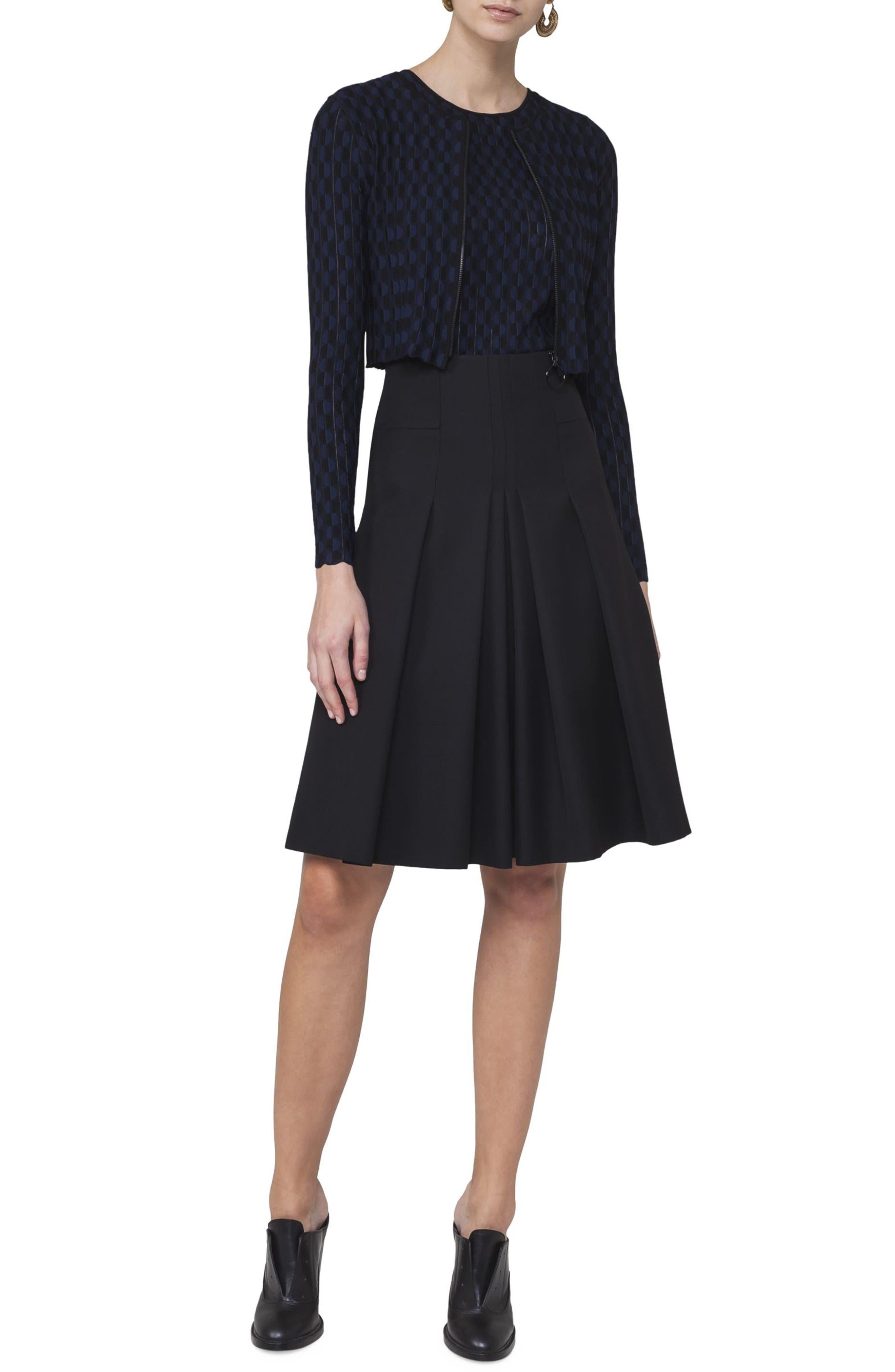 Pleated Wool Skirt,                             Alternate thumbnail 3, color,                             Black