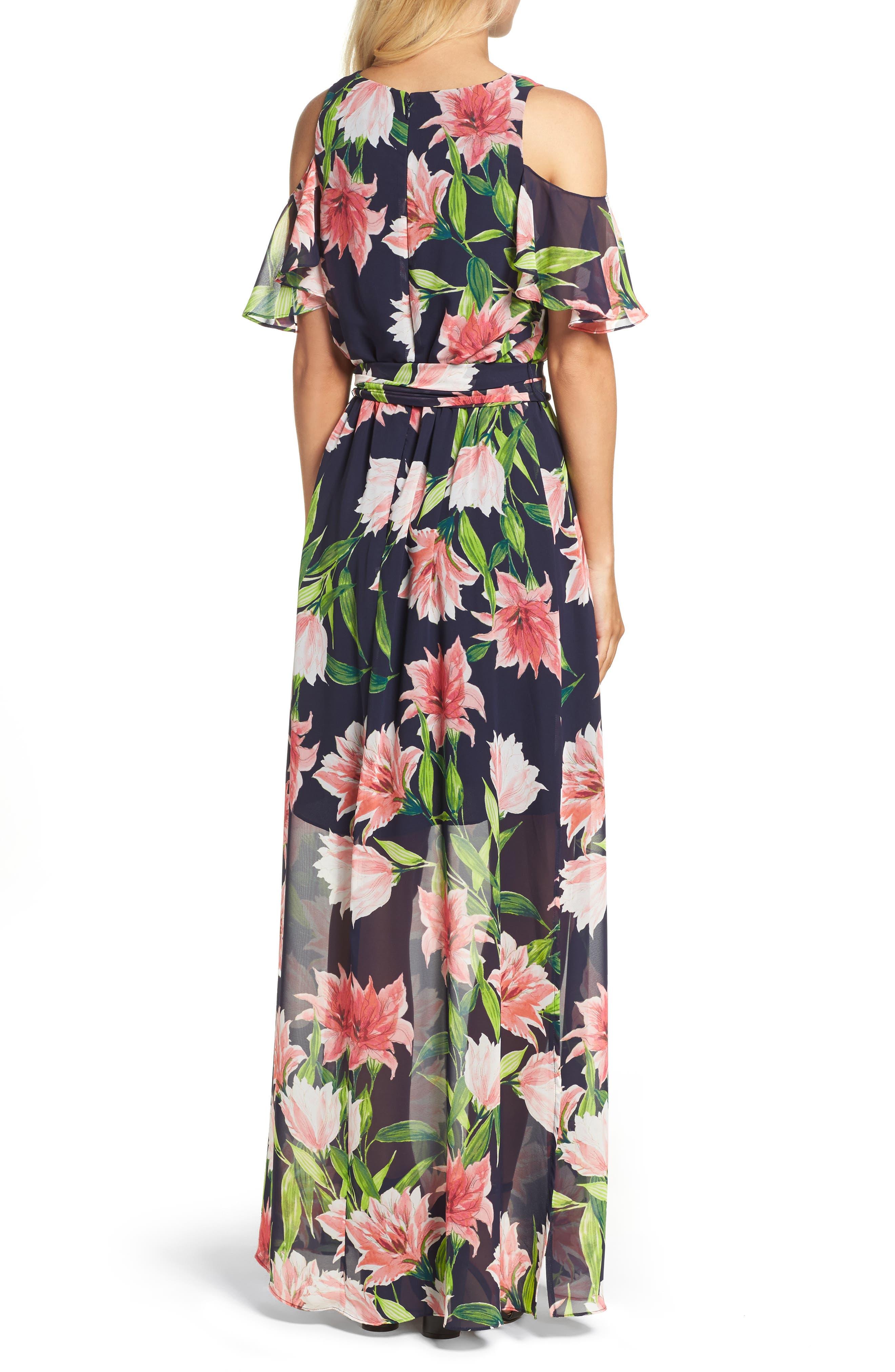 Floral Cold-Shoulder Maxi Dress,                             Alternate thumbnail 2, color,                             Navy