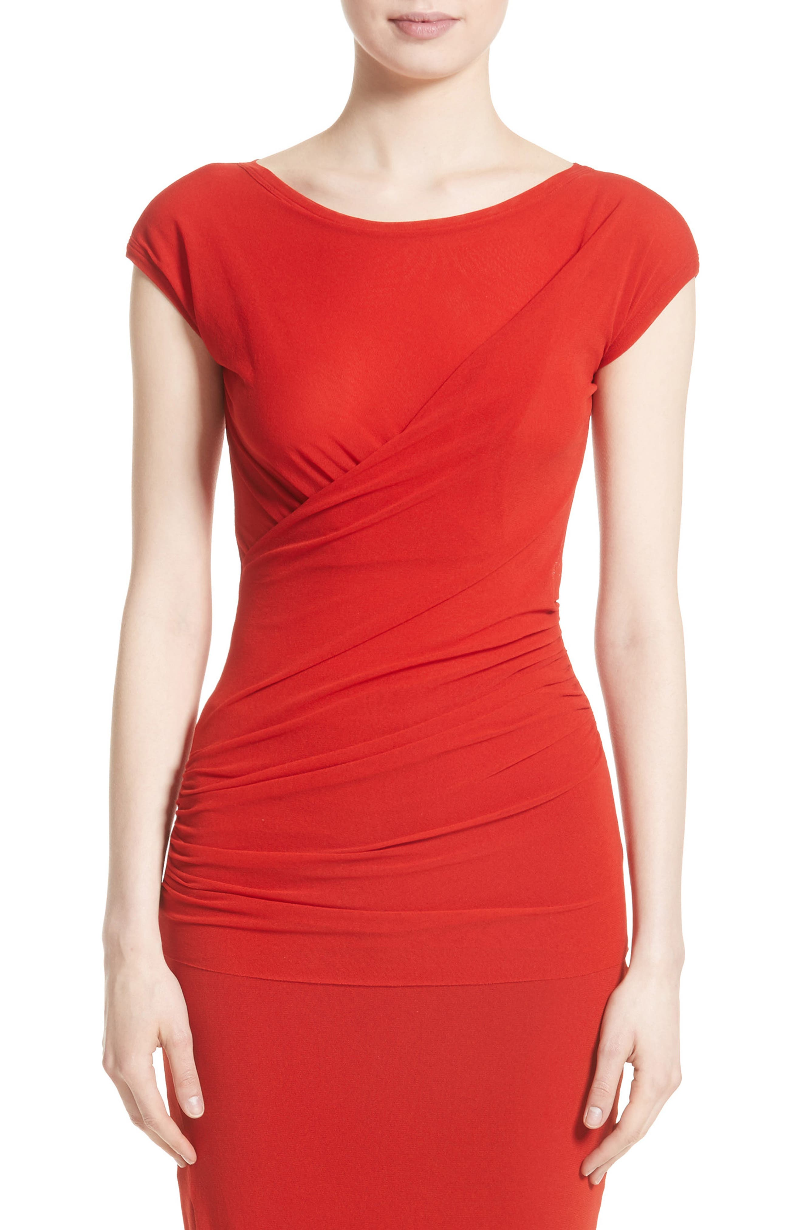 Ruched Tulle Top,                         Main,                         color, Solid Red
