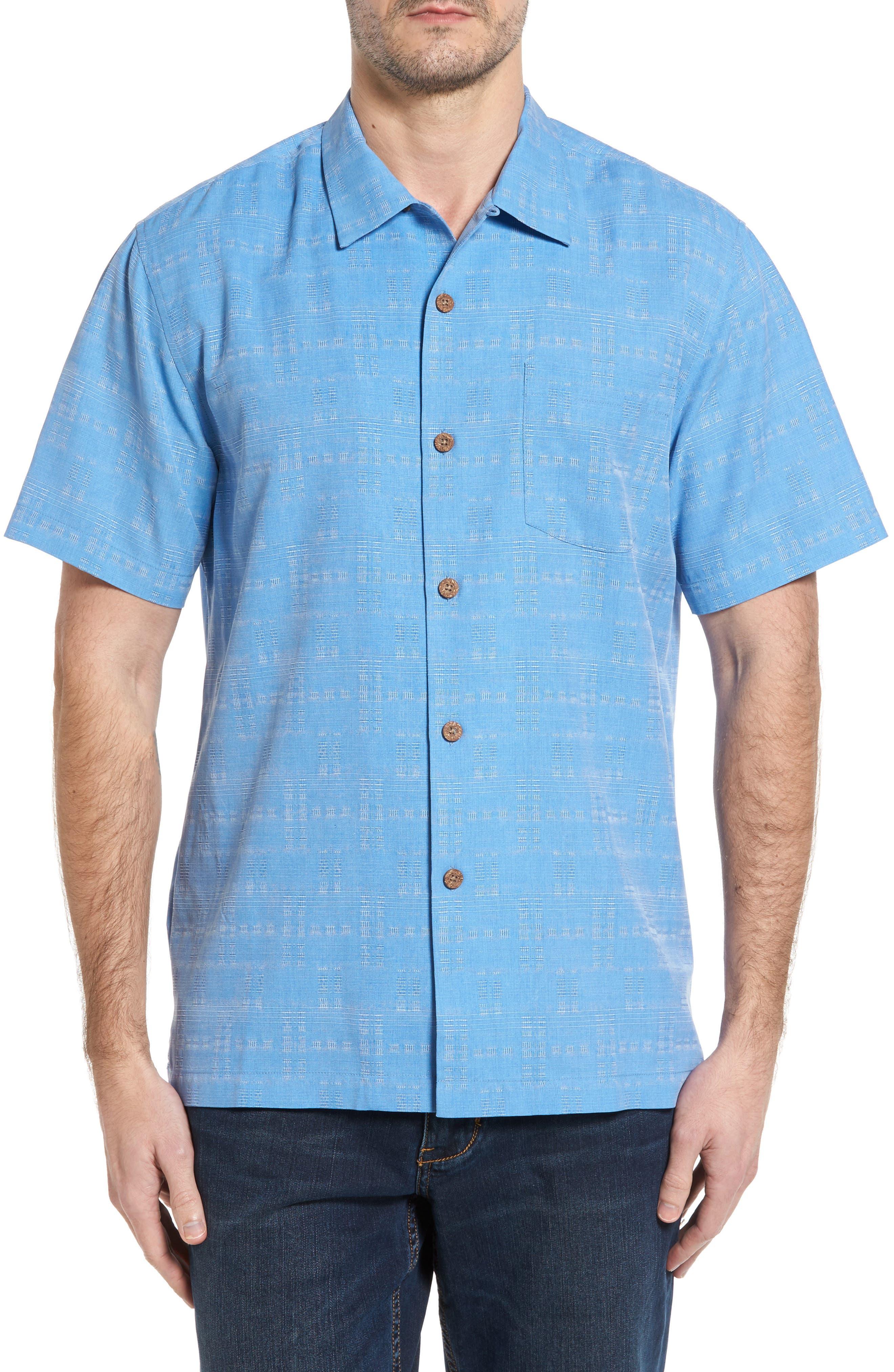 Alternate Image 1 Selected - Tommy Bahama Original Fit Jacquard Silk Camp Shirt