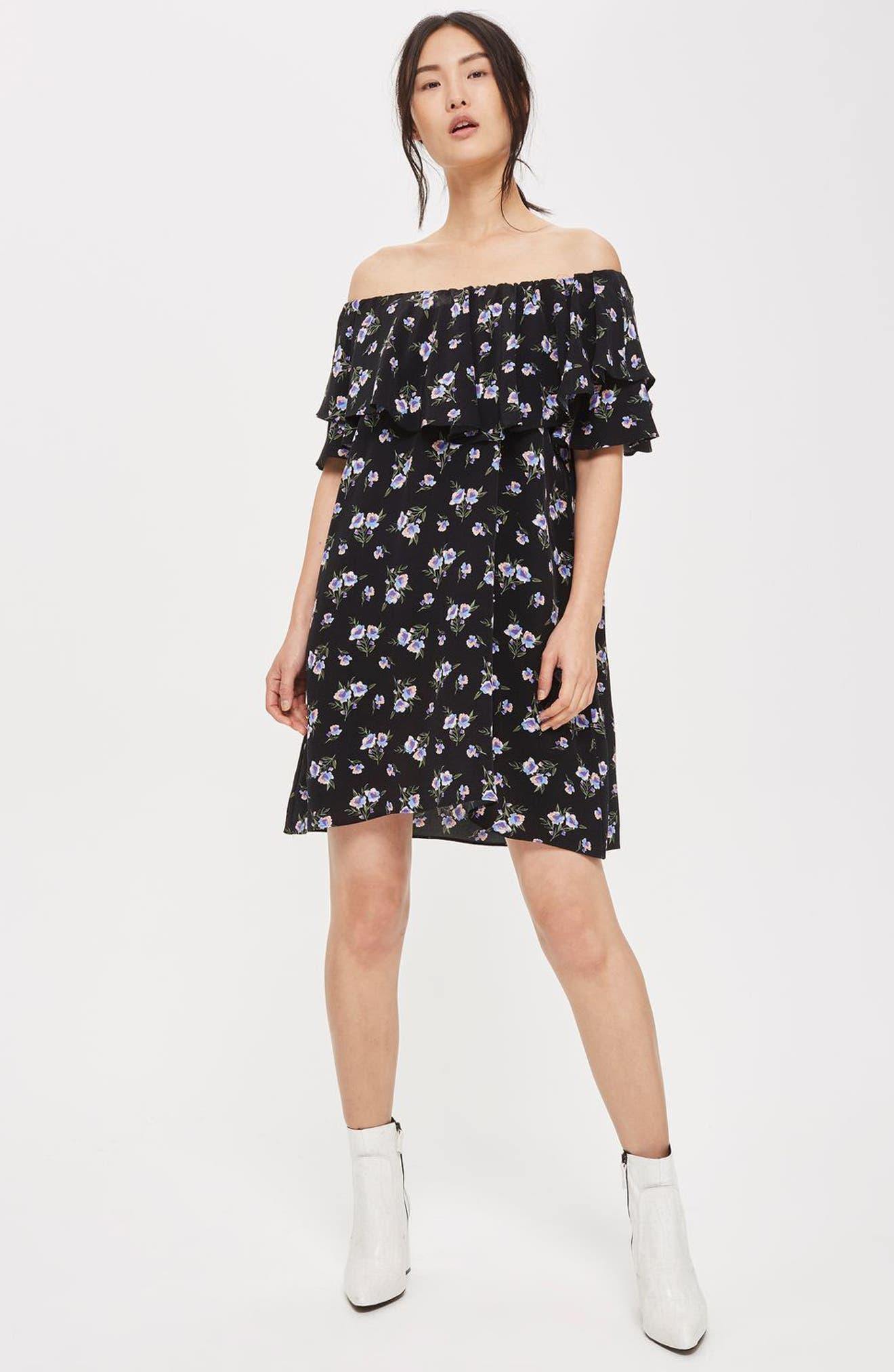 Alternate Image 2  - Topshop Bardot Floral Minidress