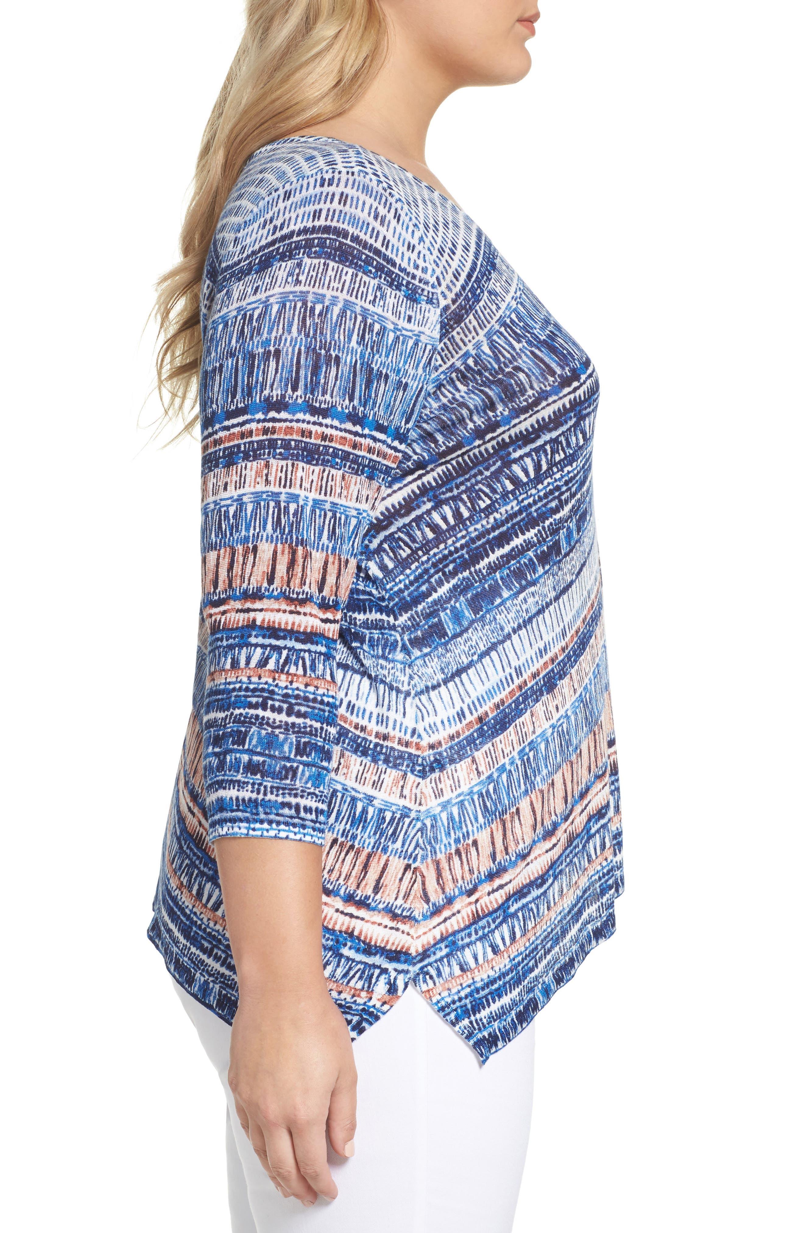 Oceanside Print Linen Blend Sweater,                             Alternate thumbnail 3, color,                             Multi