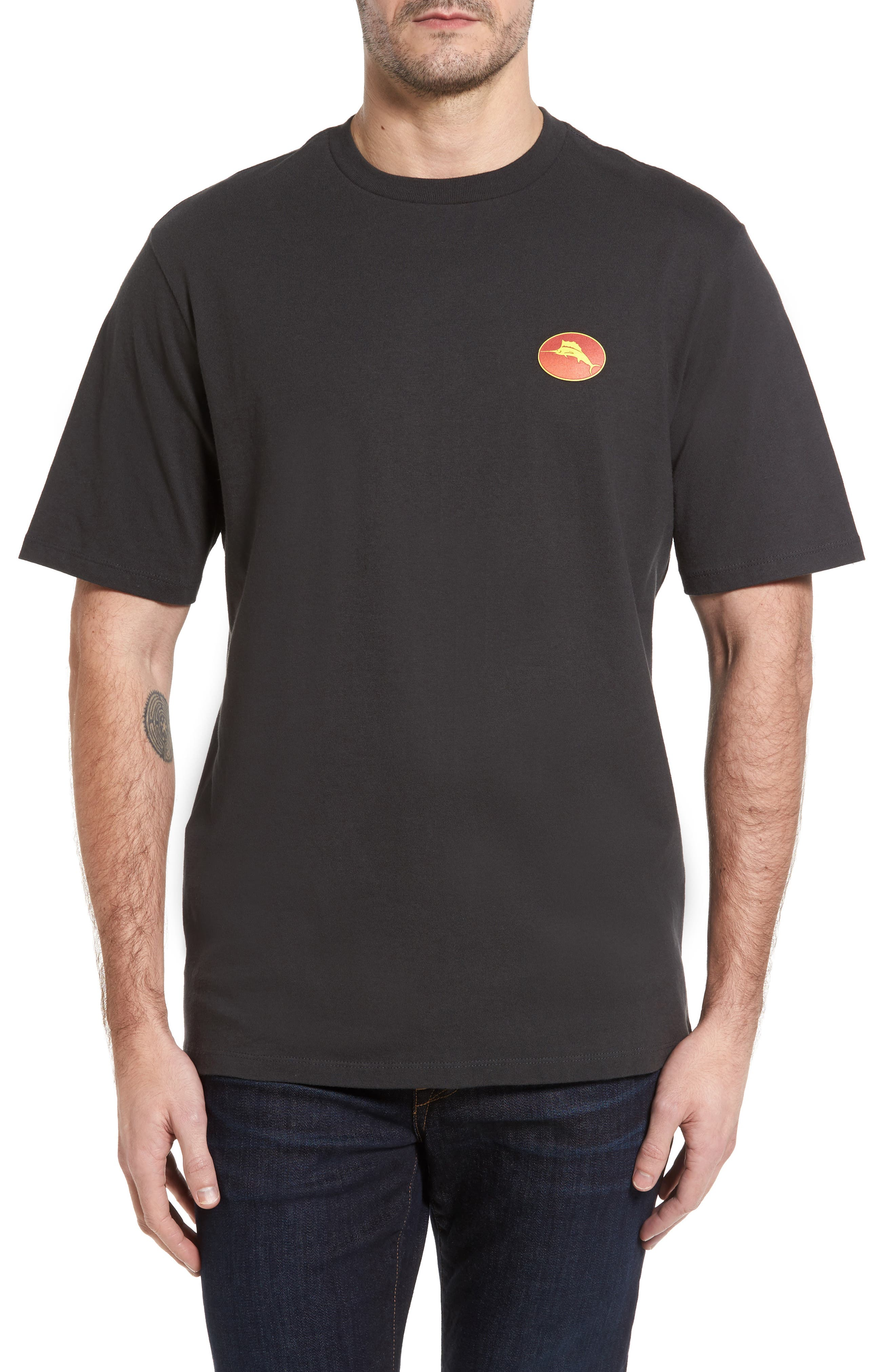 Flame & Fortune T-Shirt,                         Main,                         color, Coal