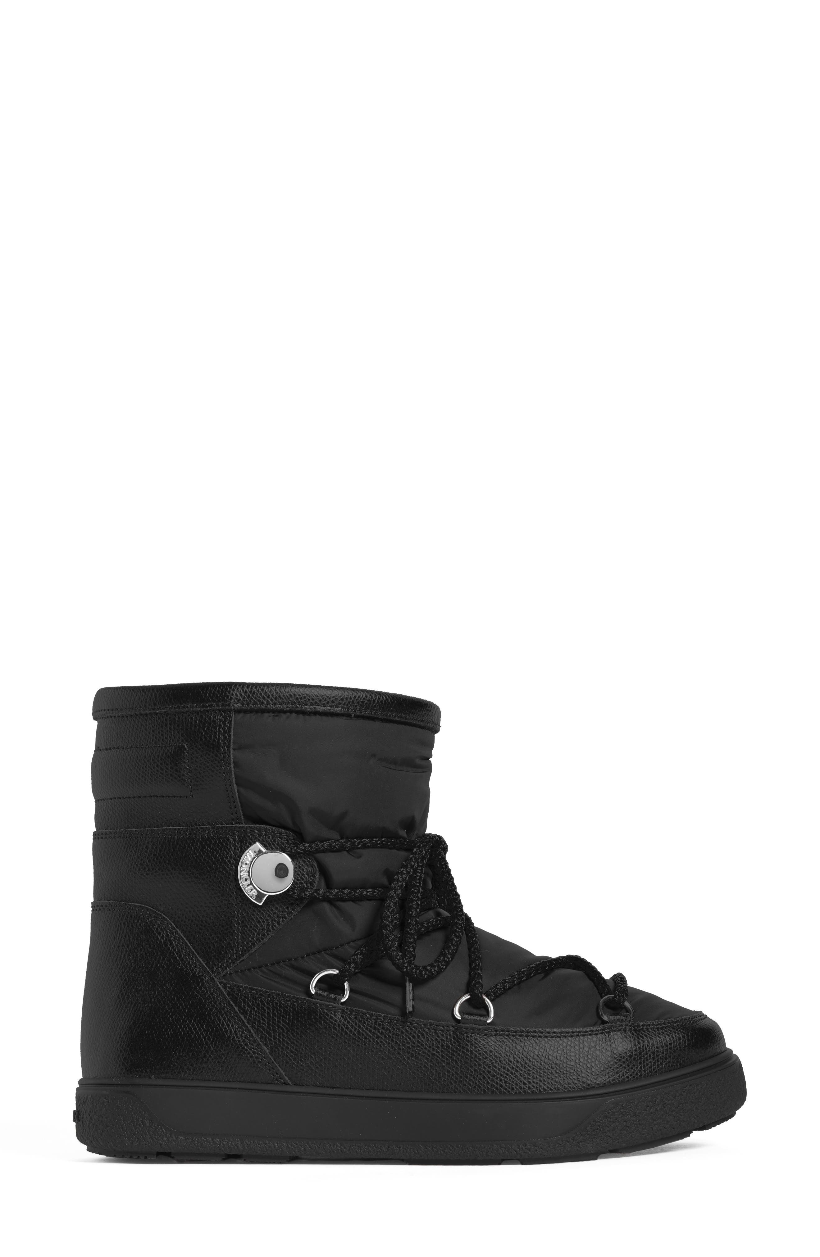 New Fanny Stivale Short Moon Boots,                             Alternate thumbnail 3, color,                             Black