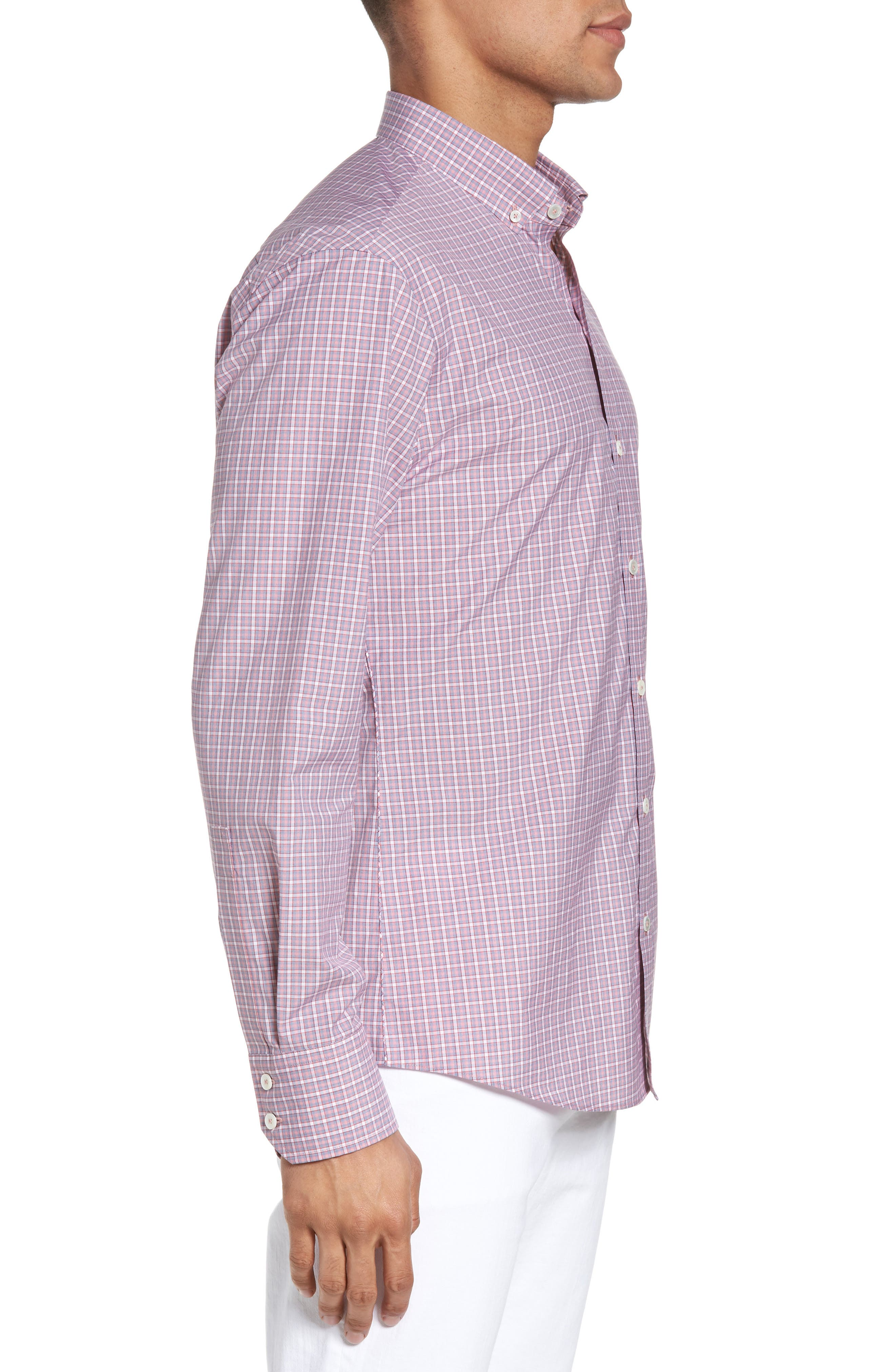 Balestier Trim Fit Plaid Sport Shirt,                             Alternate thumbnail 3, color,                             Pink