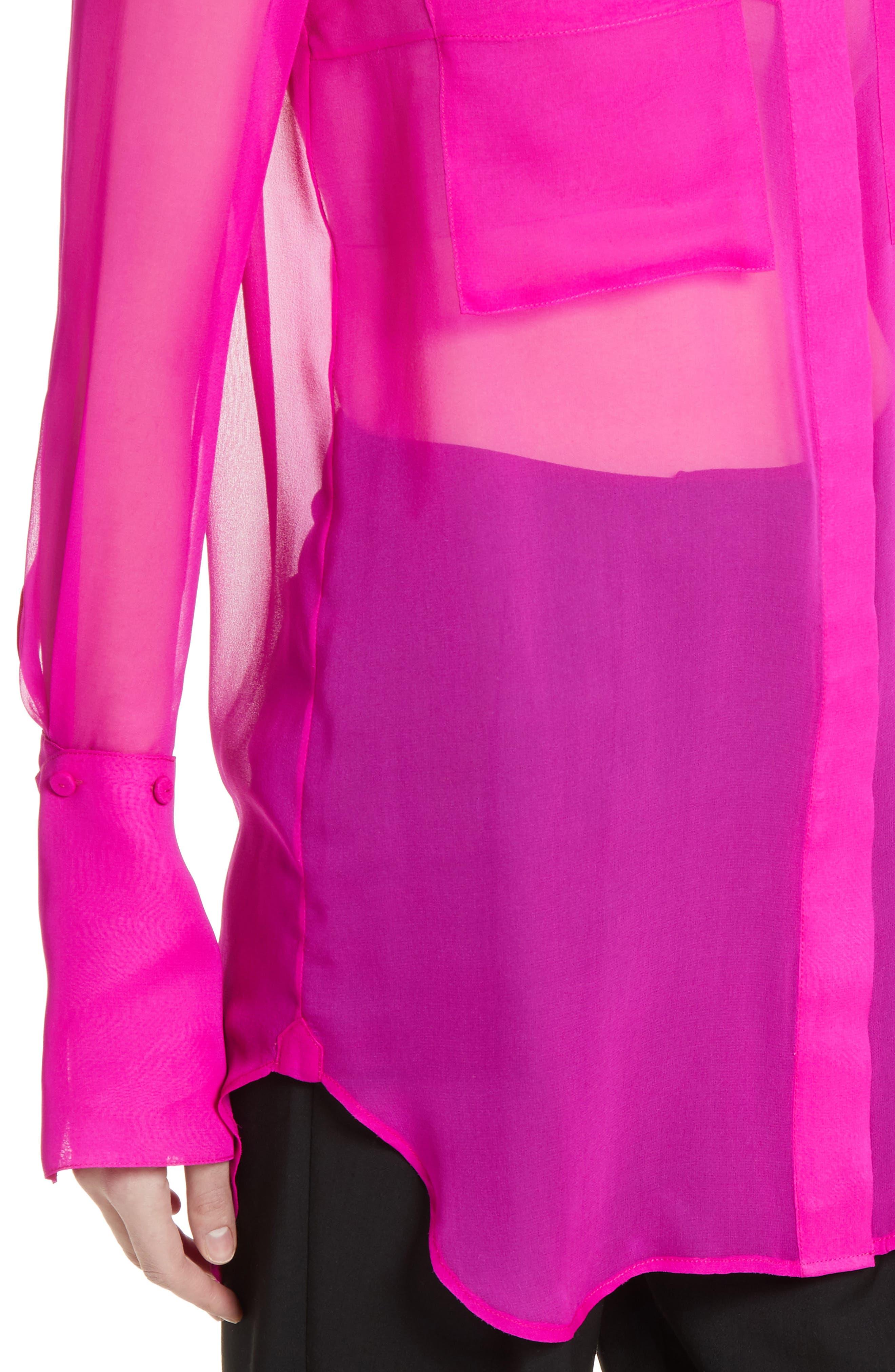 Silk Chiffon Blouse,                             Alternate thumbnail 6, color,                             Fuchsia