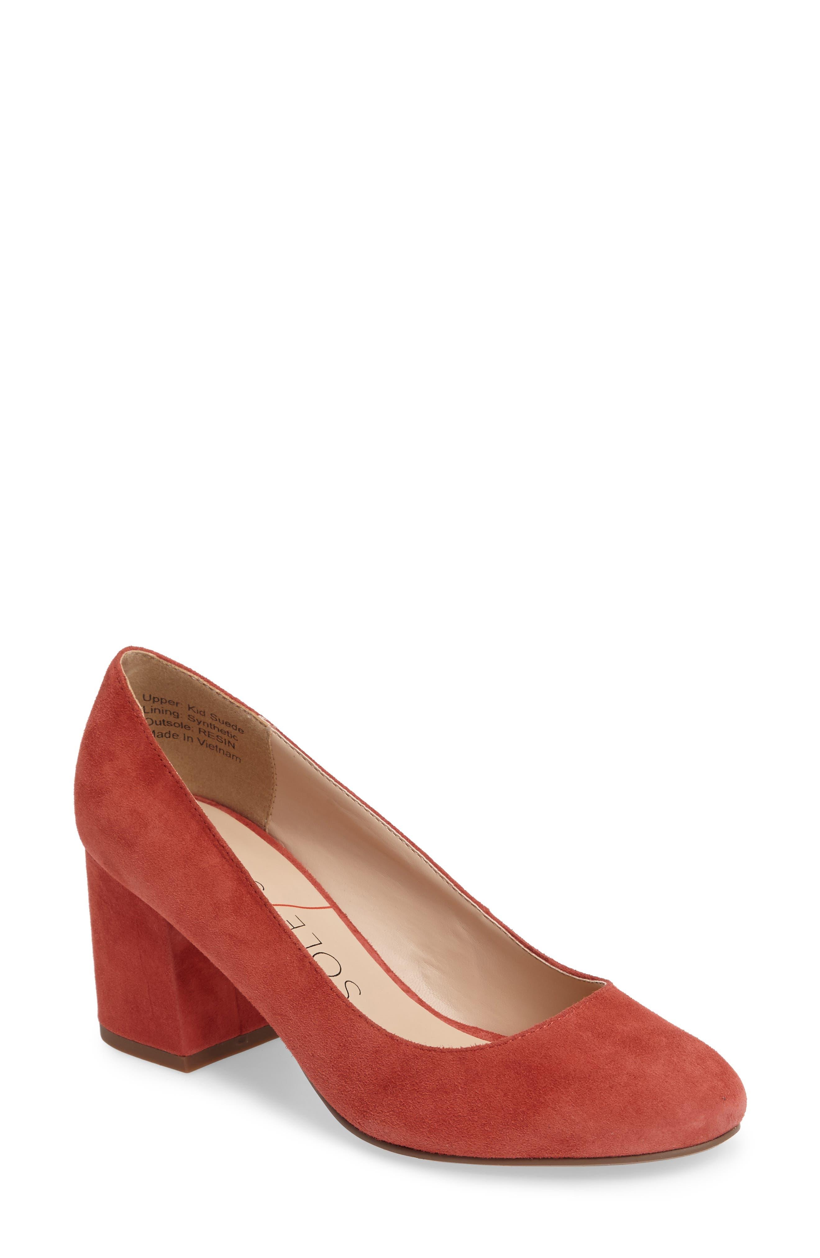 Lola Block Heel Pump,                         Main,                         color, Paprika Suede