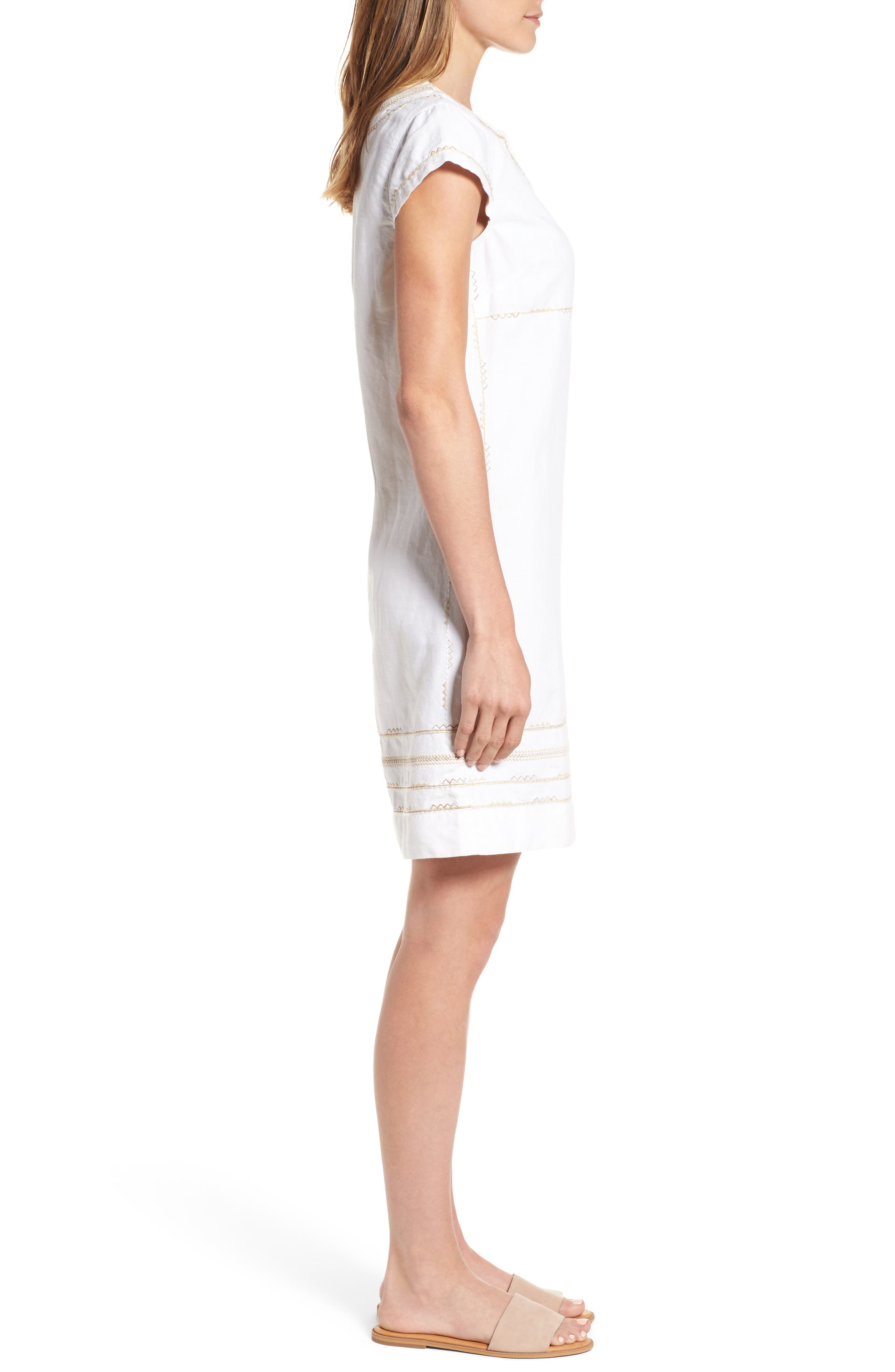 Alternate Image 3  - Tommy Bahama Embroidered Linen & Cotton Shift Dress