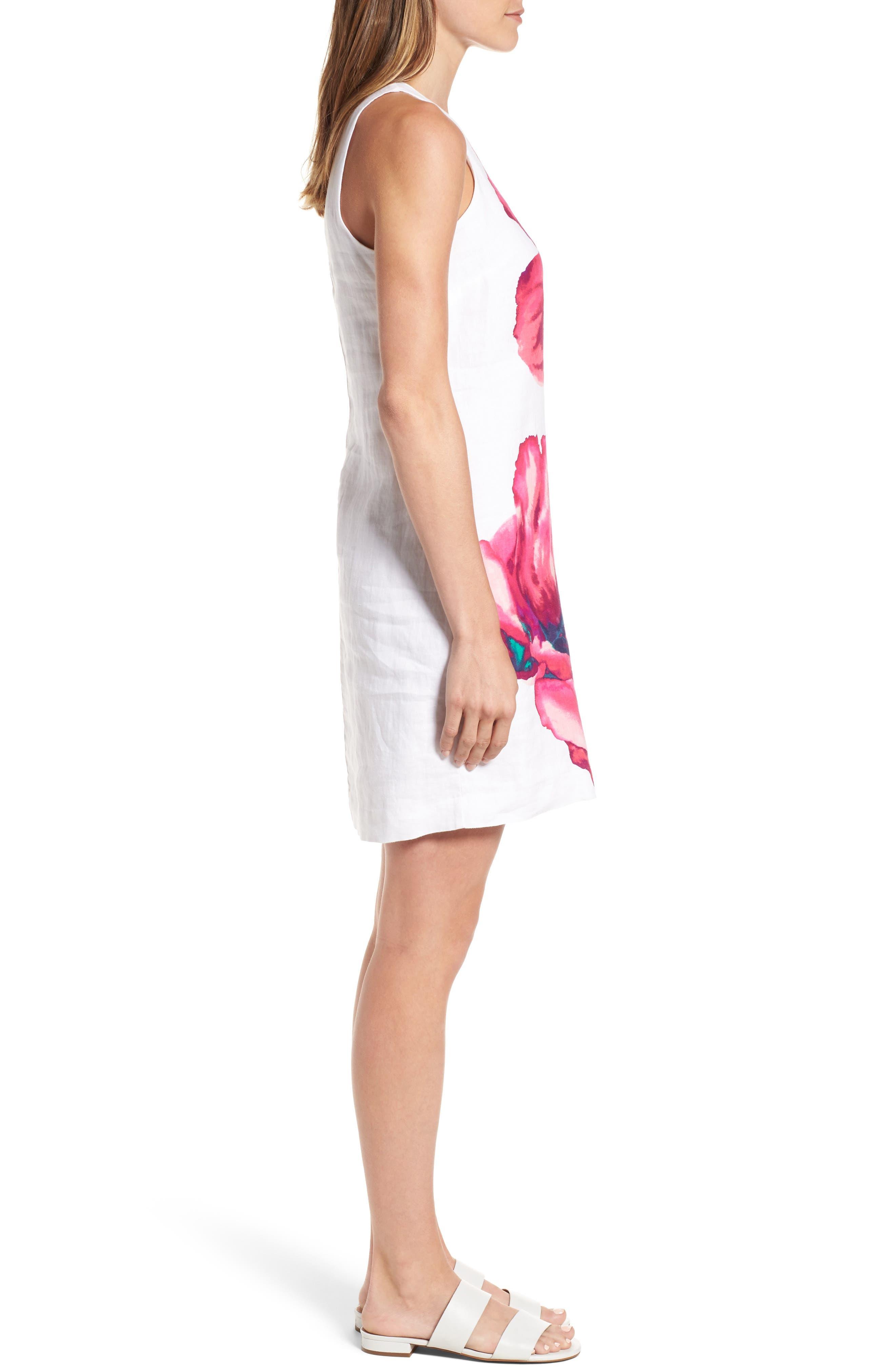 Kavala Blossoms Linen Shift Dress,                             Alternate thumbnail 3, color,                             White