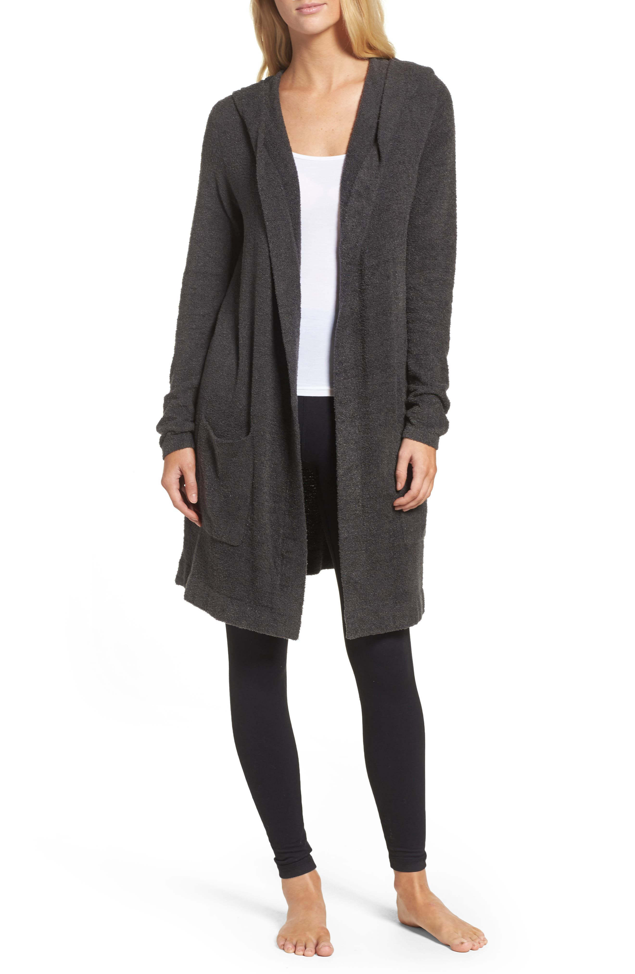 Cozychic Lite<sup>®</sup> Coastal Hooded Cardigan,                             Main thumbnail 1, color,                             Carbon