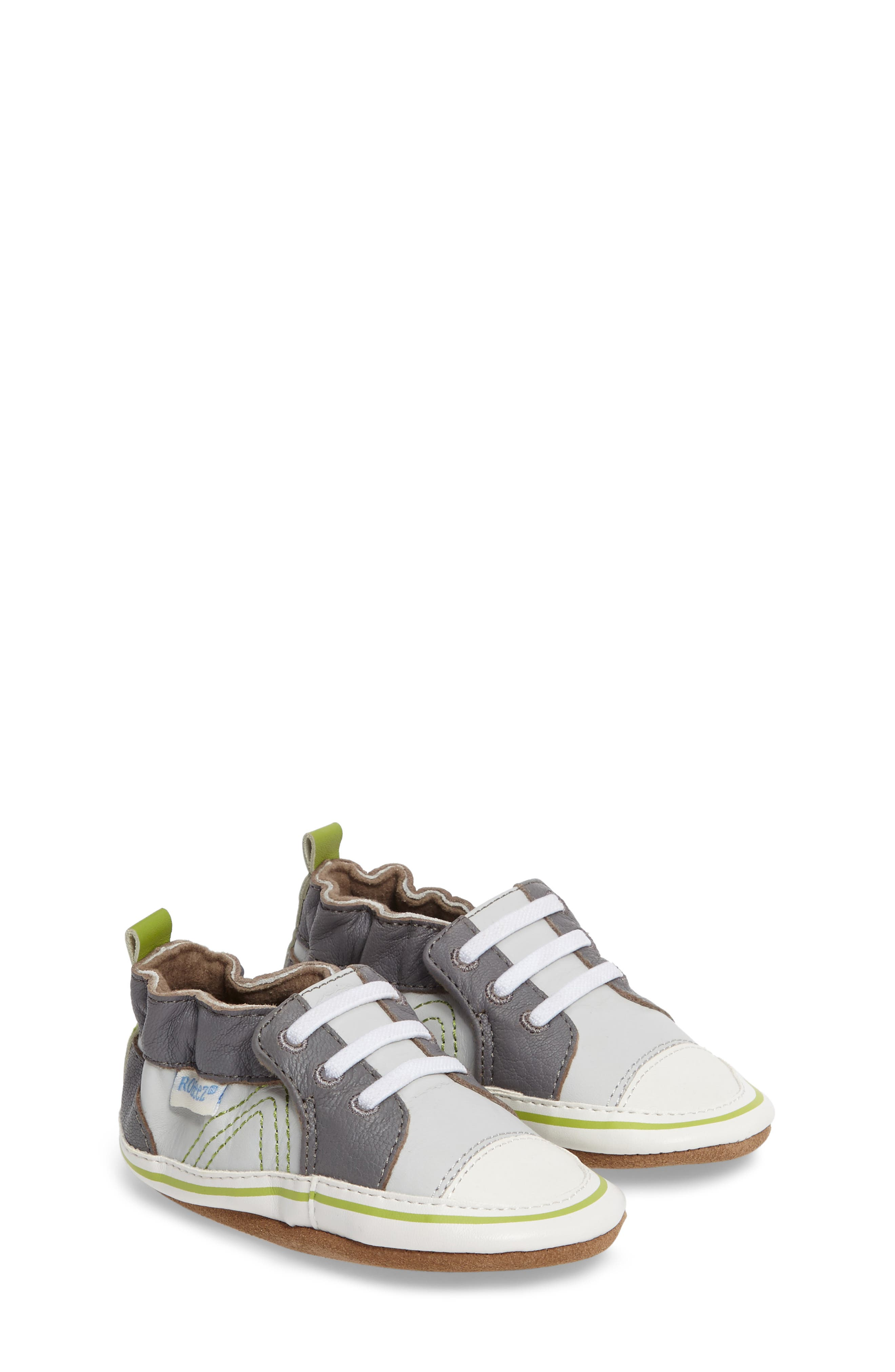 Trendy Trainer Sneaker Crib Shoe,                         Main,                         color, Grey Leather