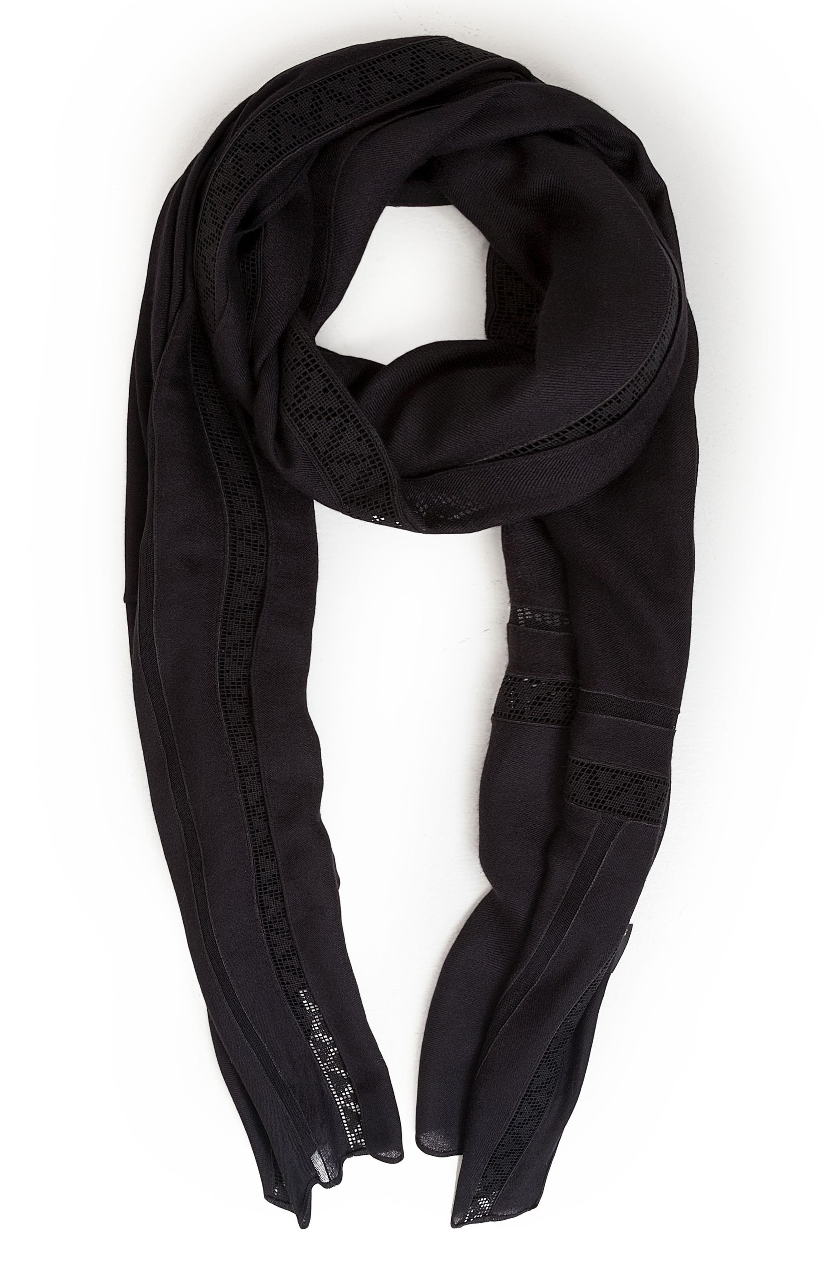 Lace Inset Modal & Cashmere Scarf,                             Alternate thumbnail 2, color,                             Black