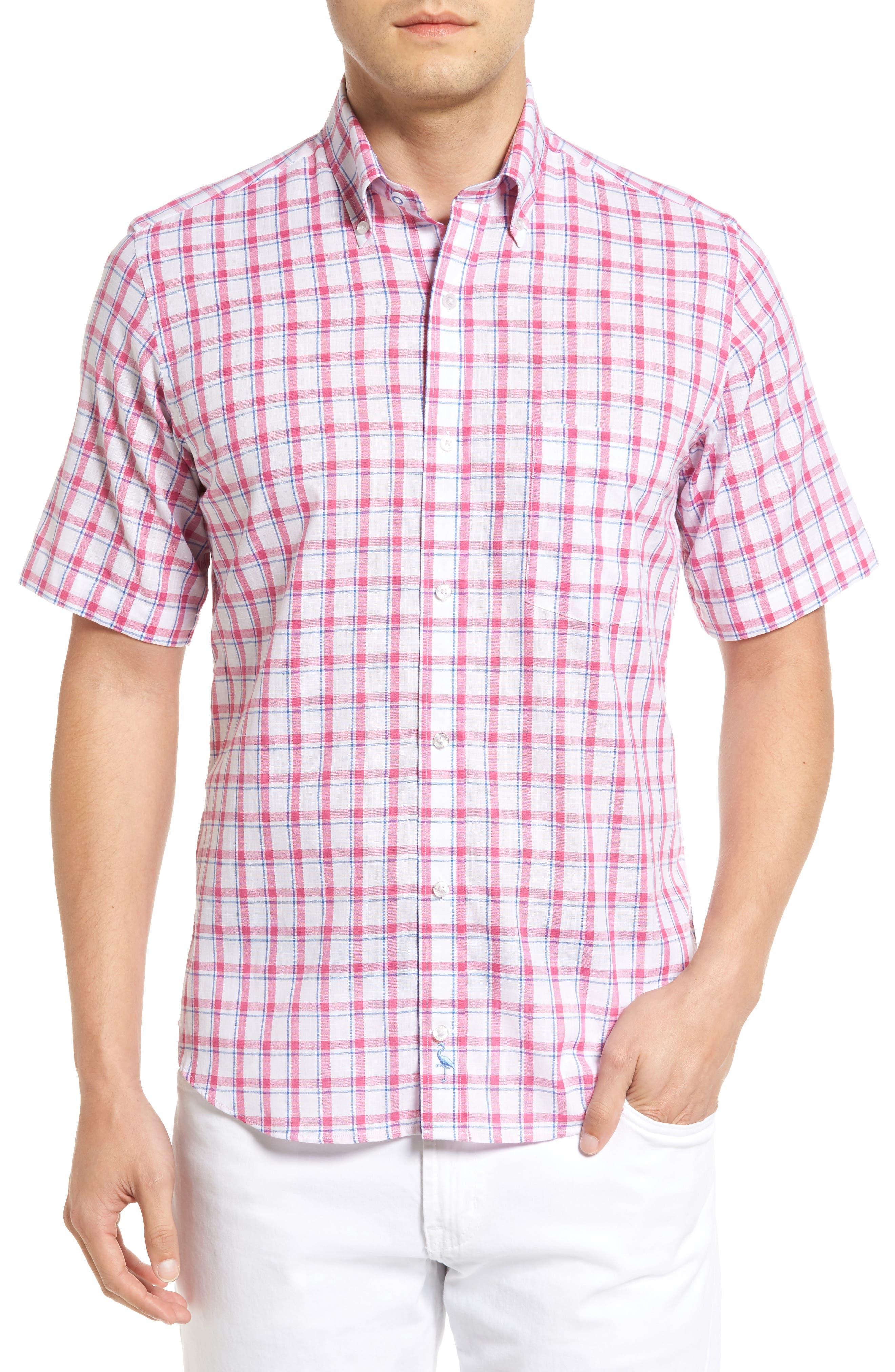 Alternate Image 1 Selected - Tailorbyrd Regular Fit Short Sleeve Windowpane Sport Shirt