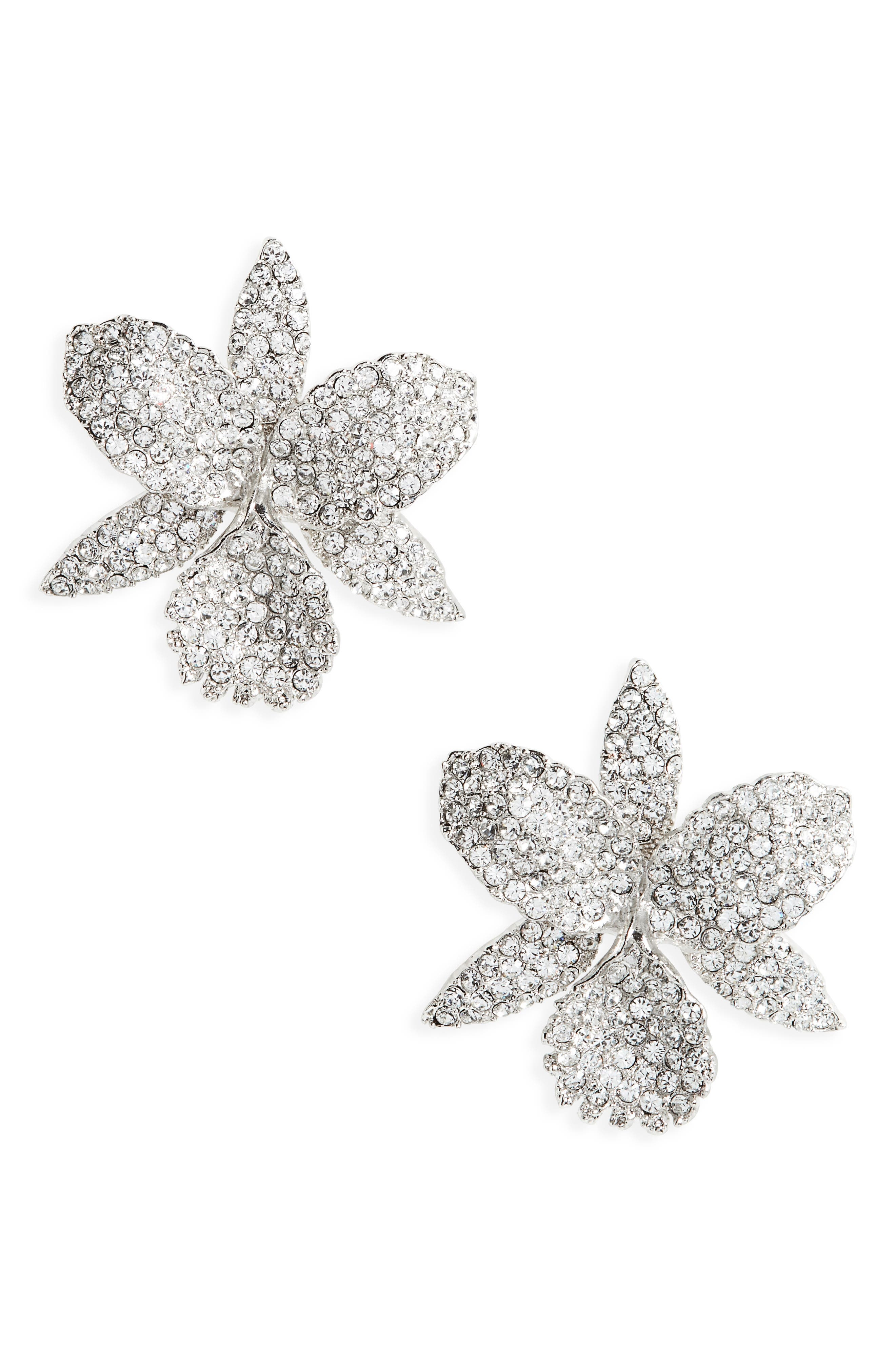 Large Orchid Stud Earrings,                         Main,                         color, Silver